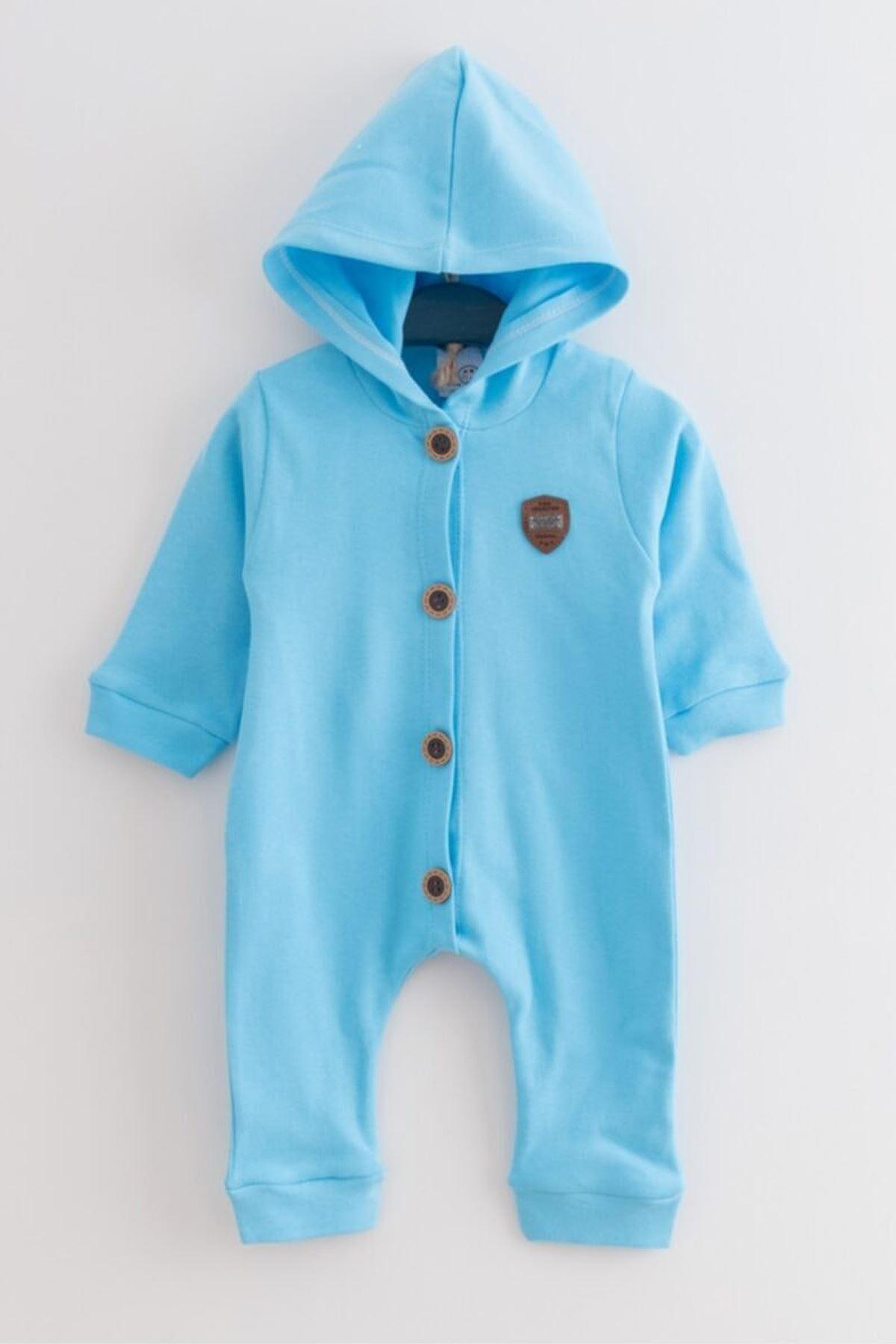 Mavi Kapüşonlu Erkek Bebek Tulum