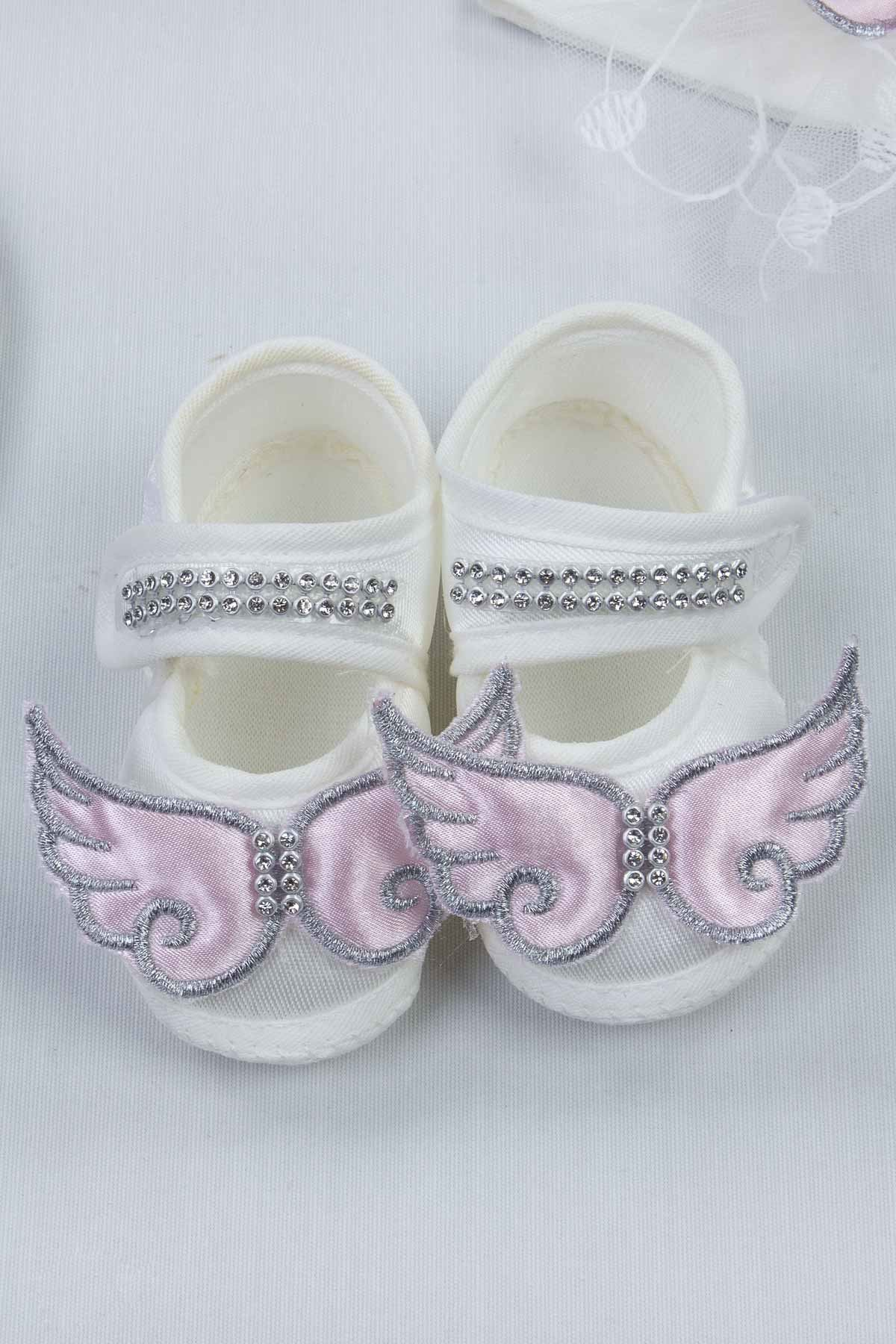 Pink Baby Girl Mom Slippers Combination Angel Winged Pregnant Comfortable Crown Slippers and Baby Booties Bandana Set Models