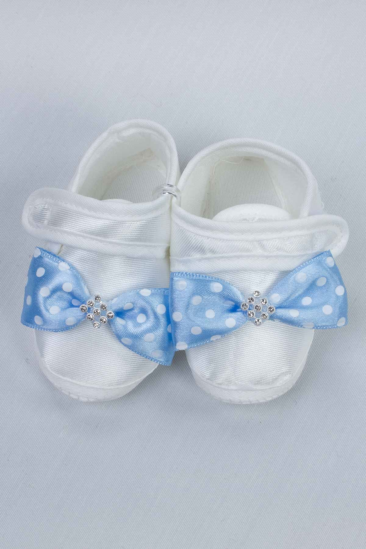 Blue Puerperal Crown Slippers and Baby Booties Hat Set