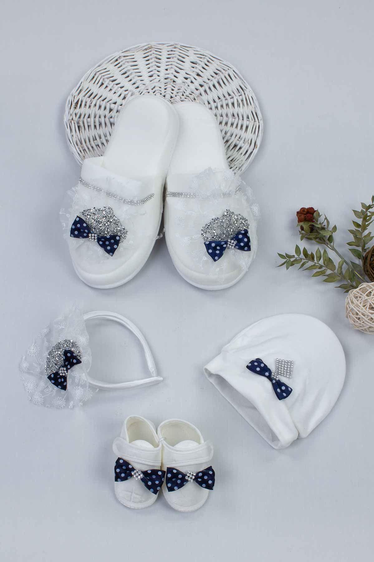 Lacivert Lohusa Taç Terlik ve Bebek Patik Şapka Set