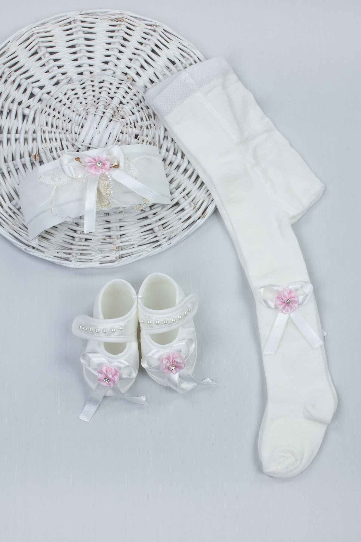 Pink Baby Girl Newborn Gift Suit Set Girls Babies Tights Stockings Hair Bandana Shoes Fashion Style 2021 Mom Gift Package models
