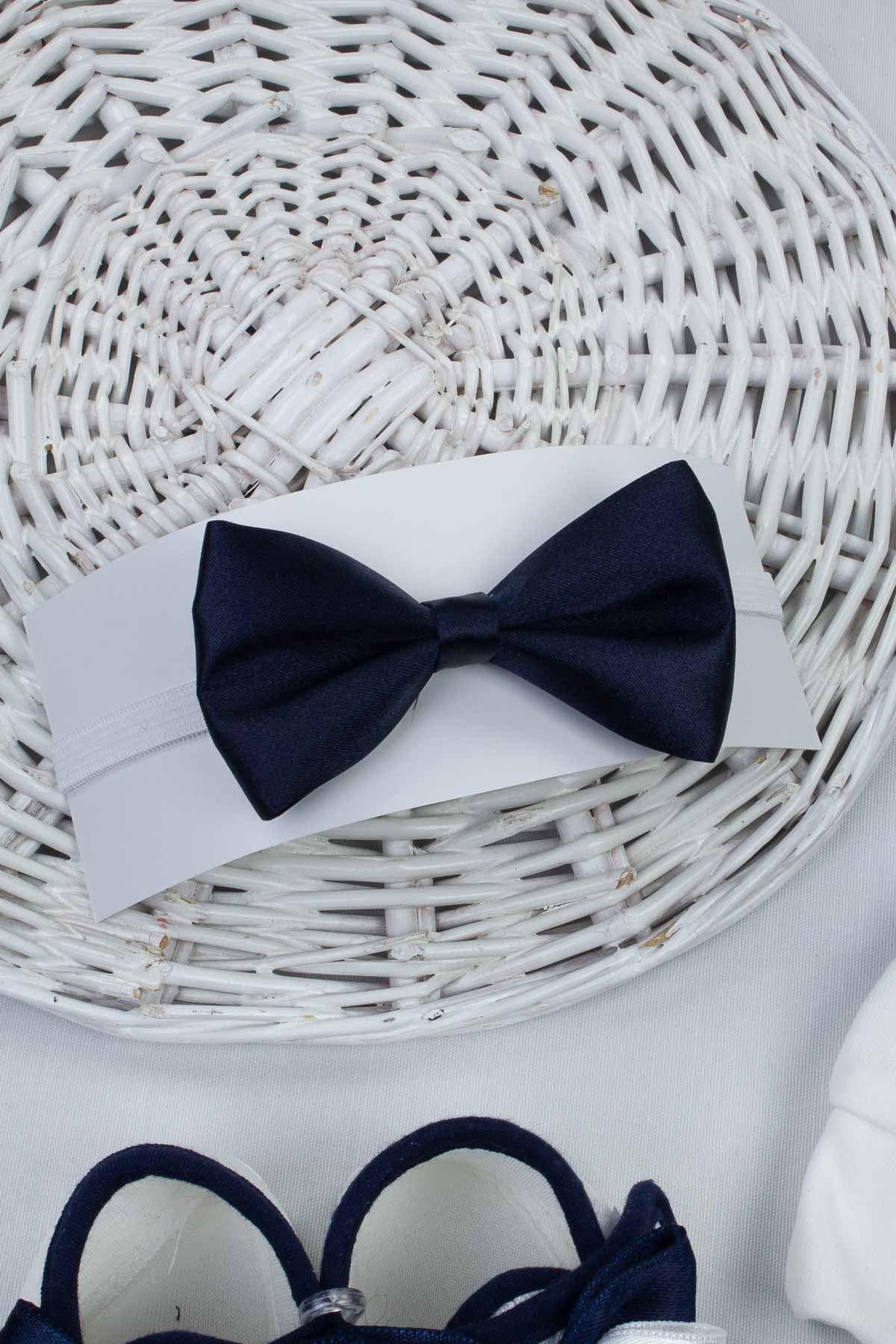 Lacivert Erkek Bebek 3 lü Hediyelik Şapka Papyon Ayakkabı Set