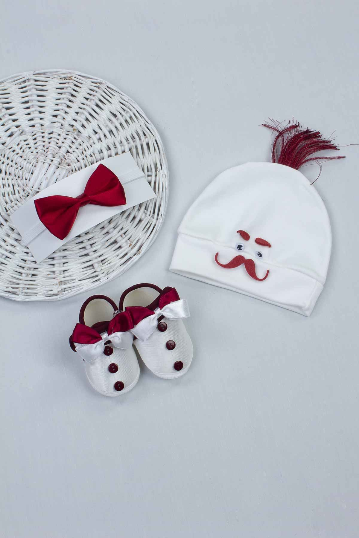 Maroon Male Baby 3 pcs Gift Hat Bowtie Shoes Set