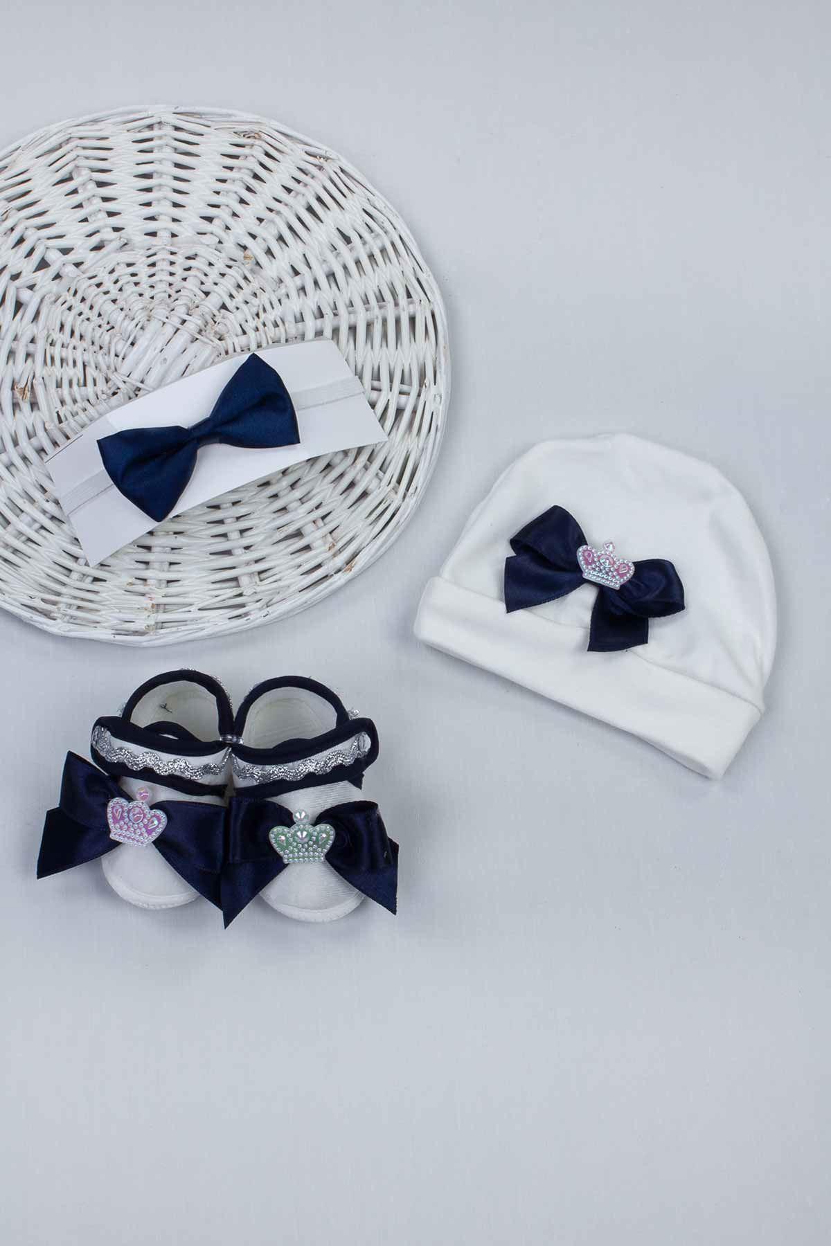 Navy blue Male Baby 3 pcs Gift Hat Bowtie Shoes Set