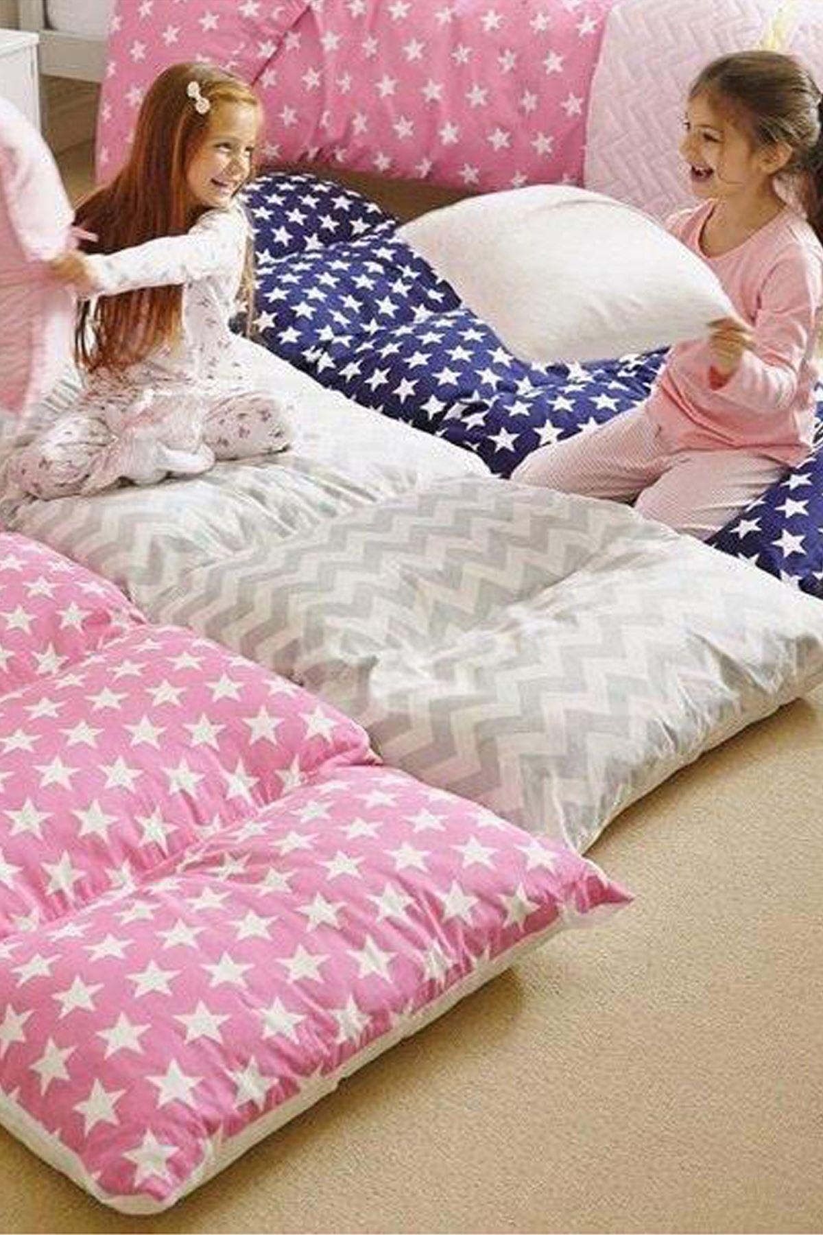 Gray Bundera Pouf Foldable Floor Cushion Pillow Kids Baby Floor Bed