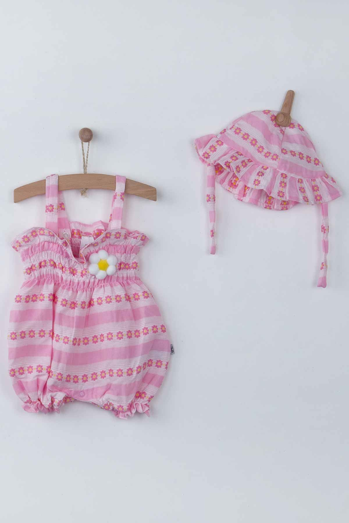 Pink Baby Girls Rompers with Hat Summer 2-piece Suit Clothes Set Jumpsuit Hat Cute Babies outfit Holiday Beach wear Clothes