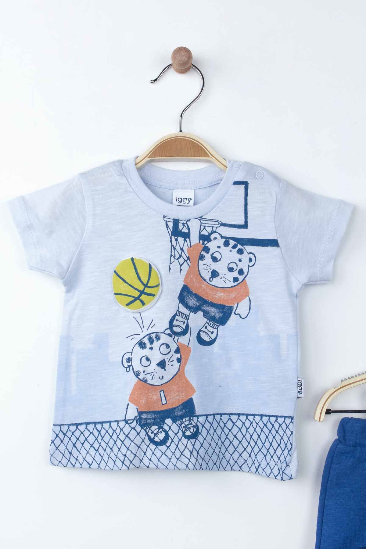 Blue Baby Boy Summer Suit Outfit Bottom Child Clothes Tops Male Boys Babies Outfit Holiday Beach Kids wear Suit Clothing model