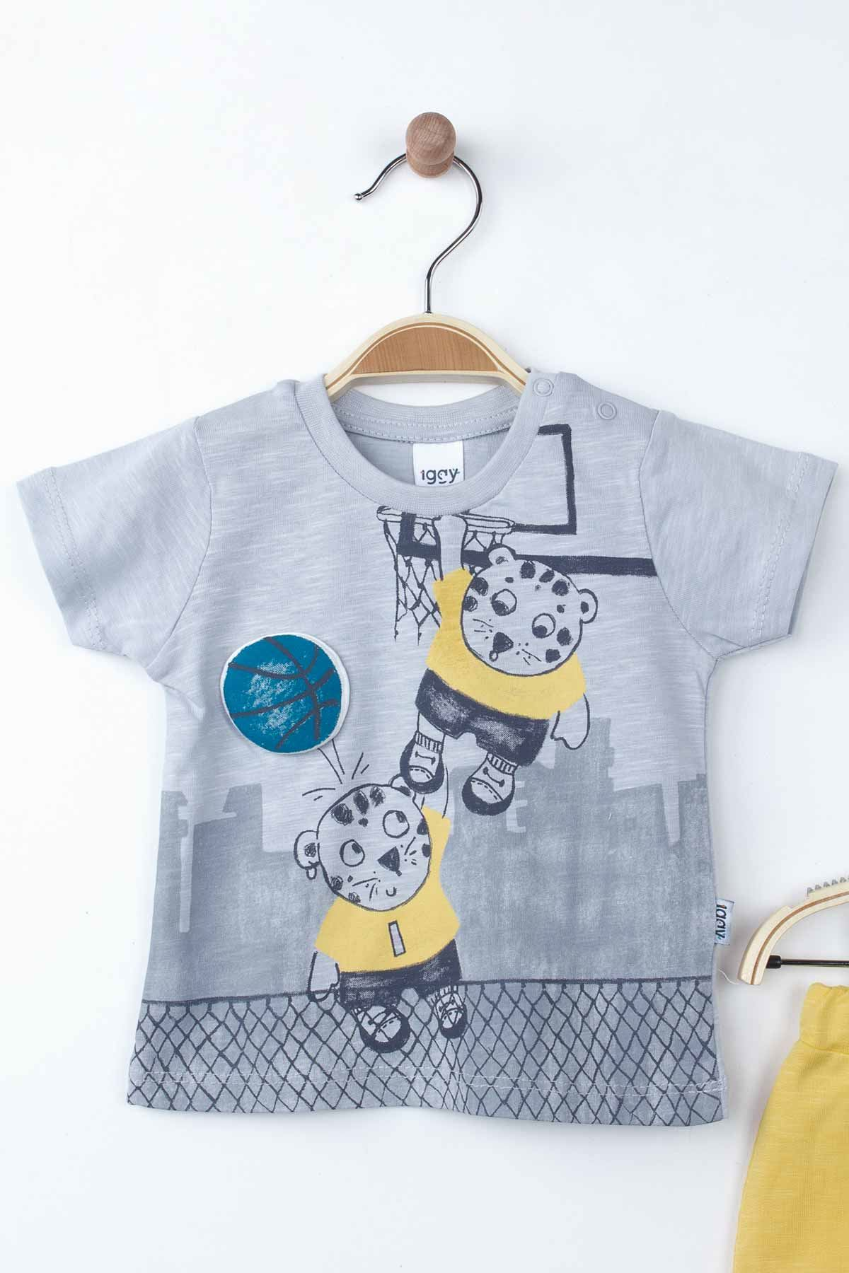 Grey Baby Boy Summer Suit Outfit Bottom Clothes Tops Male Boys Babies Outfit Holiday Beach Kids wear Suit Clothing