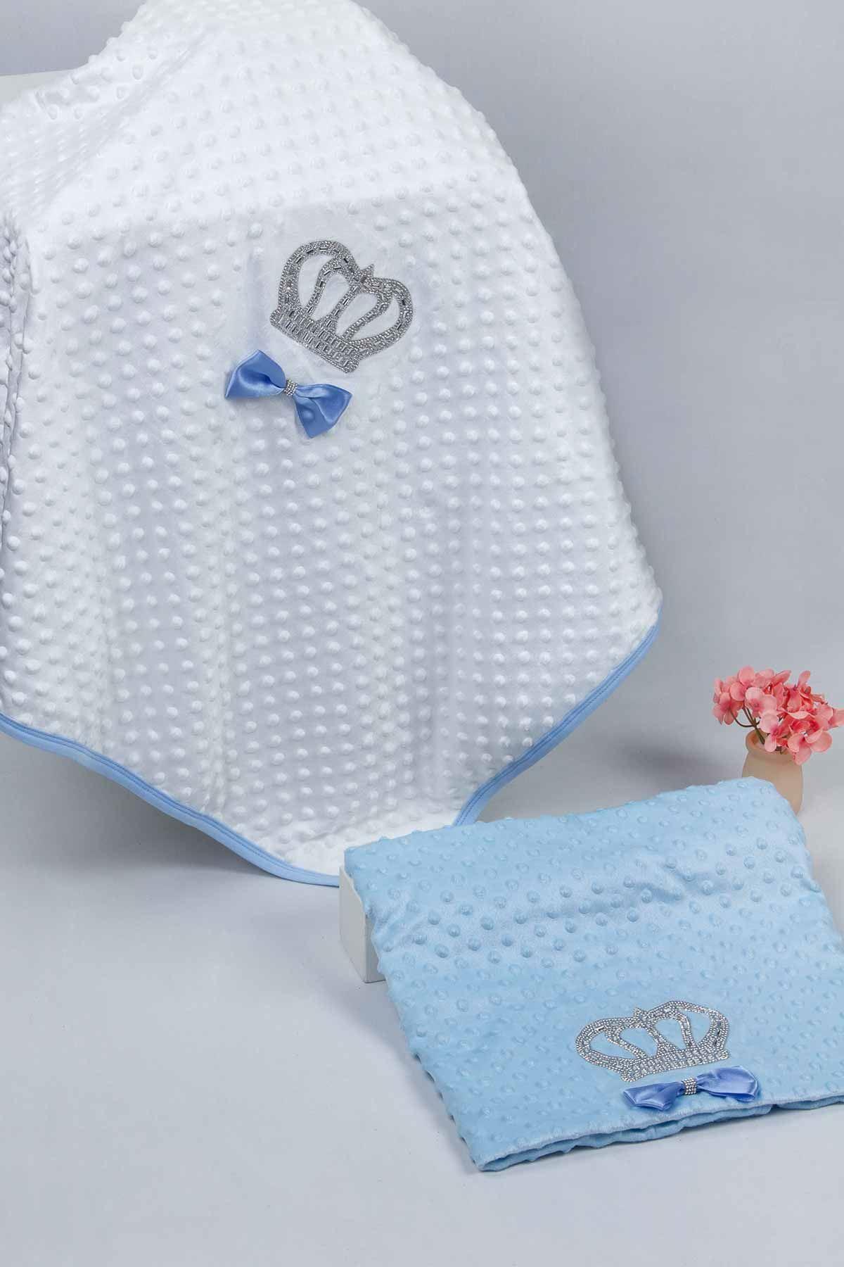 White 85 X90 cm Boy Babies Blanket King Queen Boys Baby Newborn Crown CottonEmbossed Ultra Soft Antibacterial Infants Models