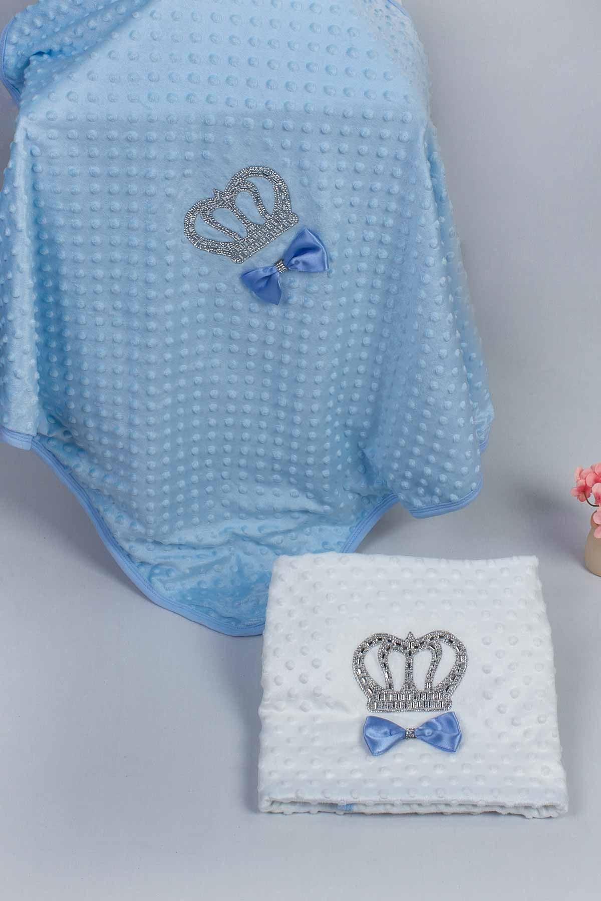 Mavi 85X90 cm Kral Taçlı Nohut Erkek Bebek Battaniye