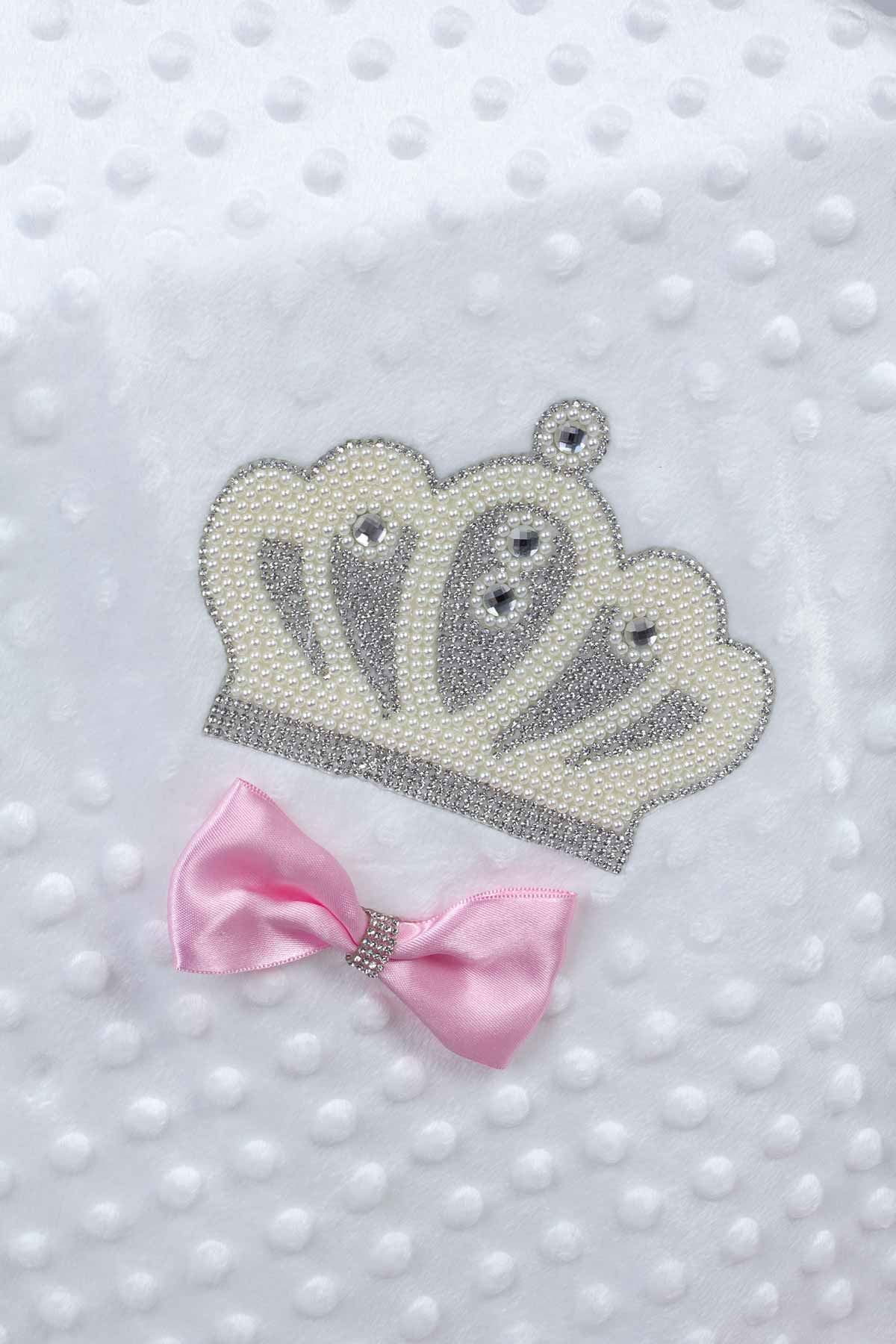 Beyaz 85X90 cm Kraliçe Taçlı Nohut Kız Bebek Battaniye