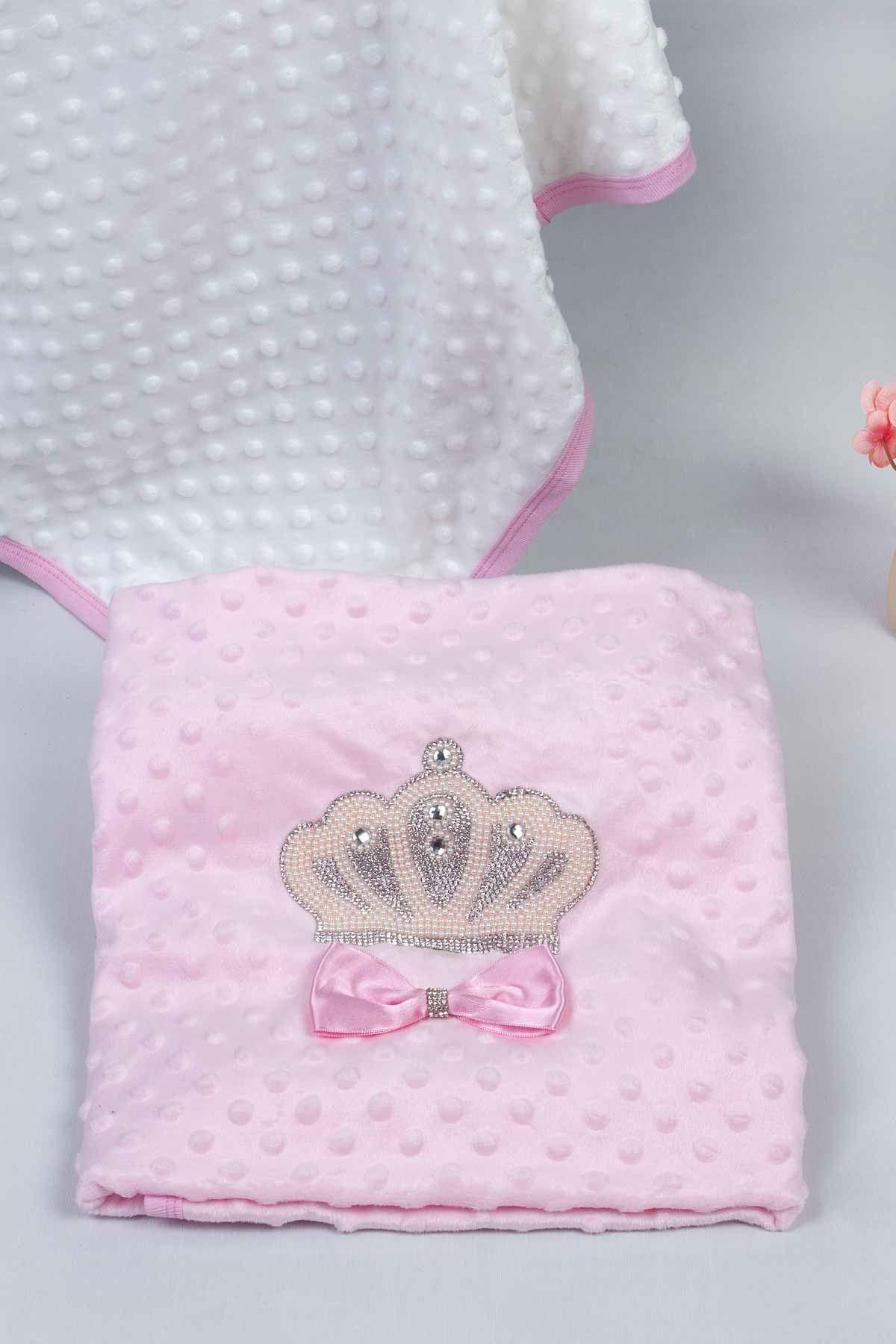 Pink Girl Babies Blanket King Queen Girls Baby Newborn Crown Embossed Ultra Soft Antibacterial Infants Girls Princess Models