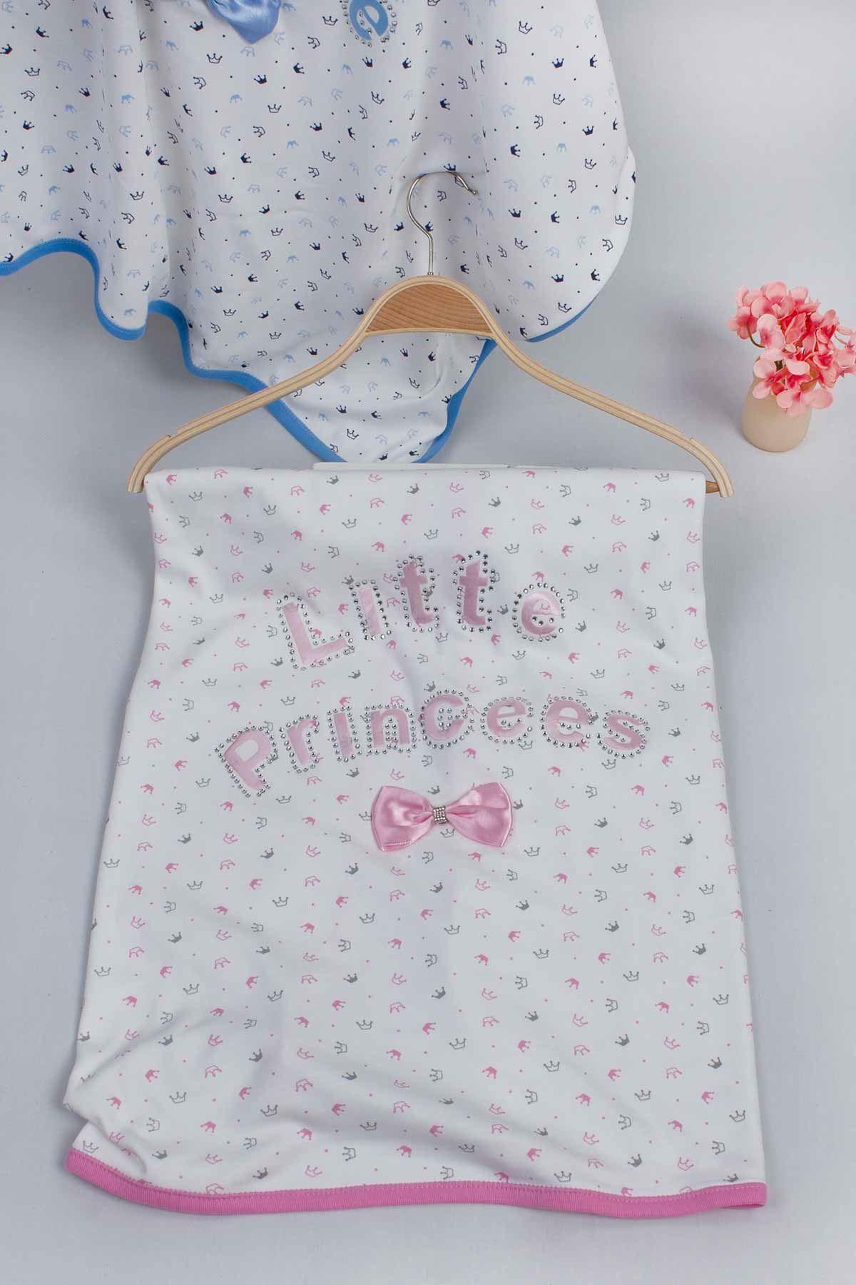 Pembe 80x85 cm Prenses Kız Bebek Battaniye