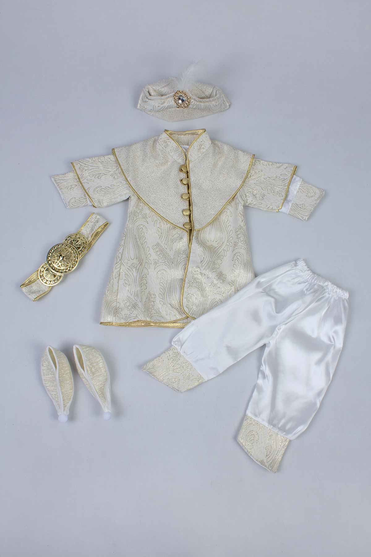 Yellow Boy Baby Suit Prince Ottoman Prince Gentleman Formal Dresses Boys Babies 5 Piece Set Male Clothing Special Occasions Outfit Model