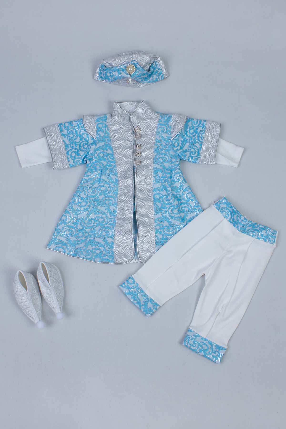 Blue Boy Baby Suit Prince Ottoman Prince Gentleman Formal Dresses Boys Babies 5 Piece Set Male Clothing Special Occasions Outfit Models