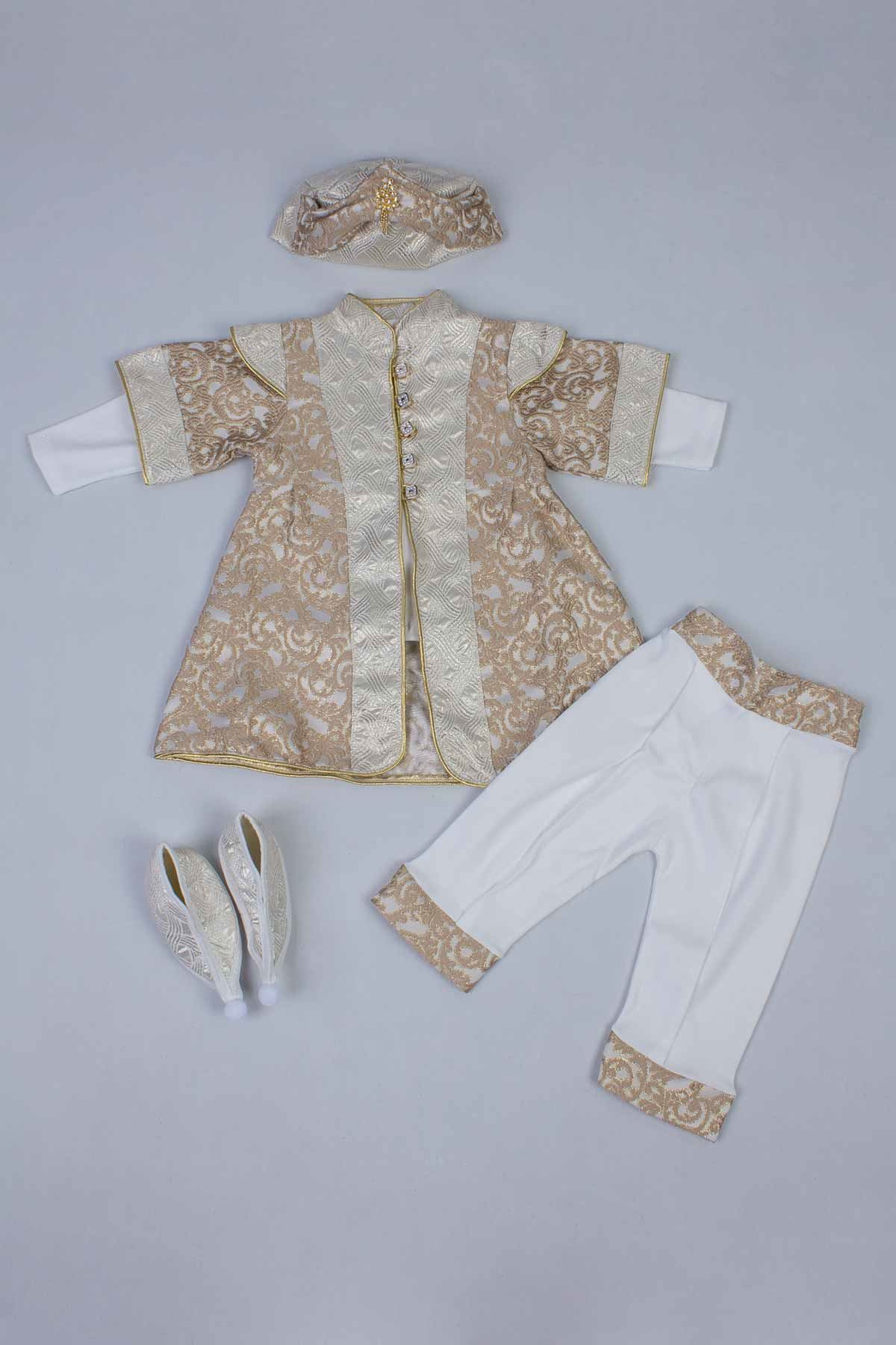 Cream Boy Baby Suit Prince Ottoman Prince Gentleman Formal Dresses Boys Babies 5 Piece Set Male Clothing Special Occasions Outfit Model