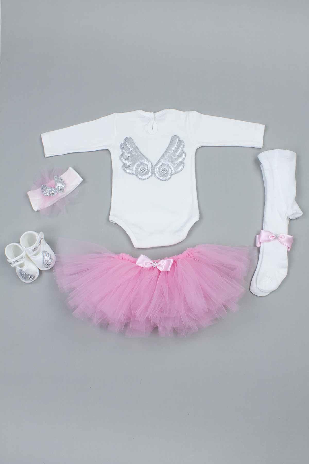 Gri Angel Melek Kanatlı Kız Bebek Tütü Takım
