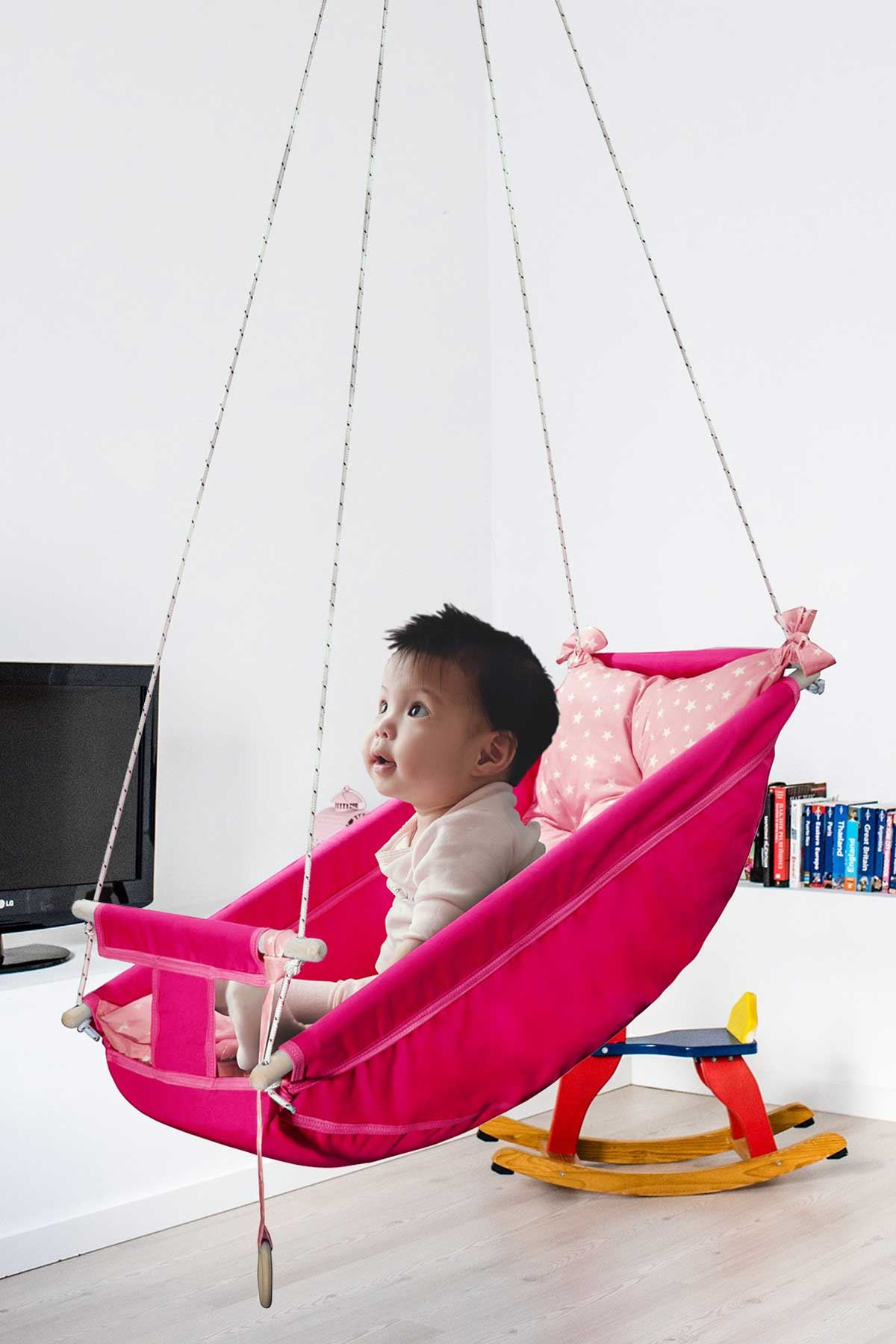 Pink Bundera Kids Baby Sleeping Swing Wooden Hammock Cradle Swing