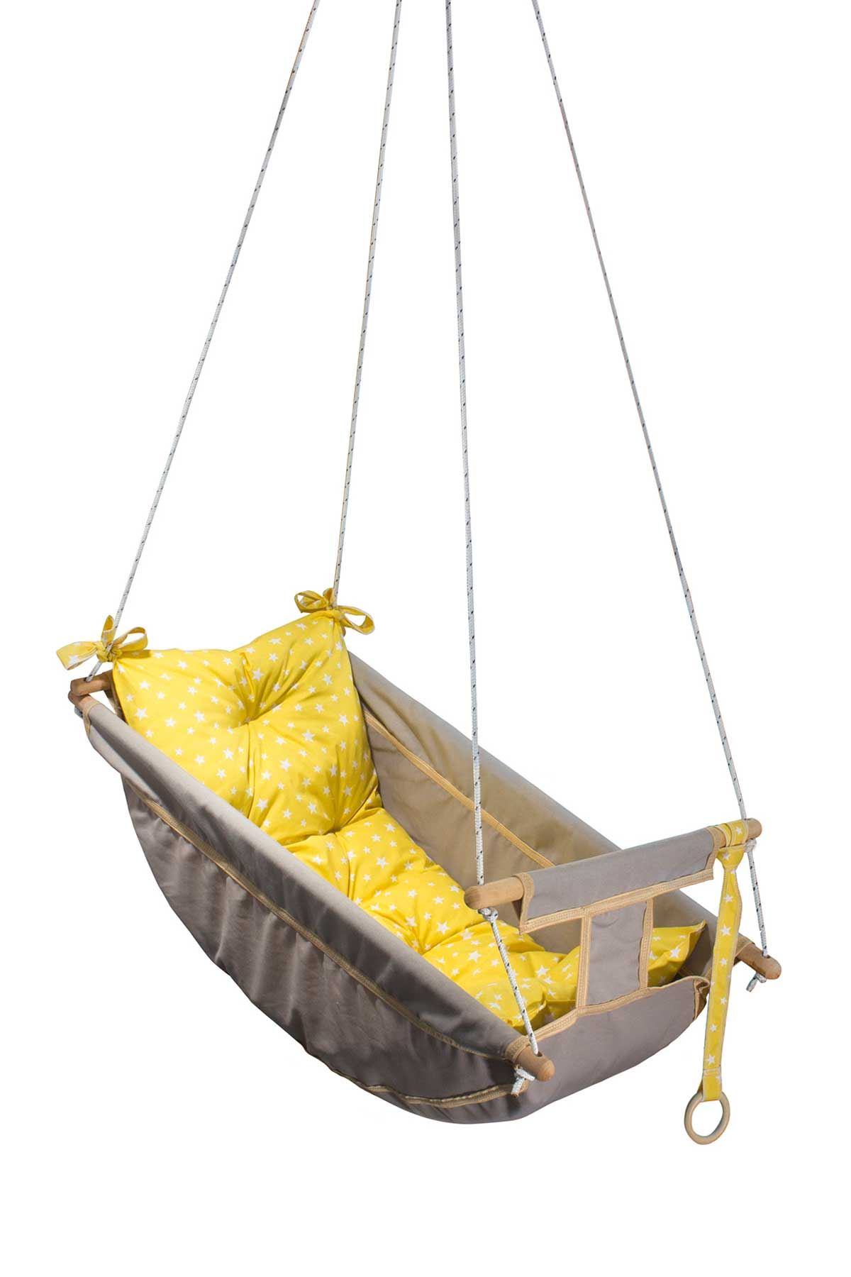 Gray Bundera Kids Baby Sleeping Swing Wooden Hammock Cradle Swing