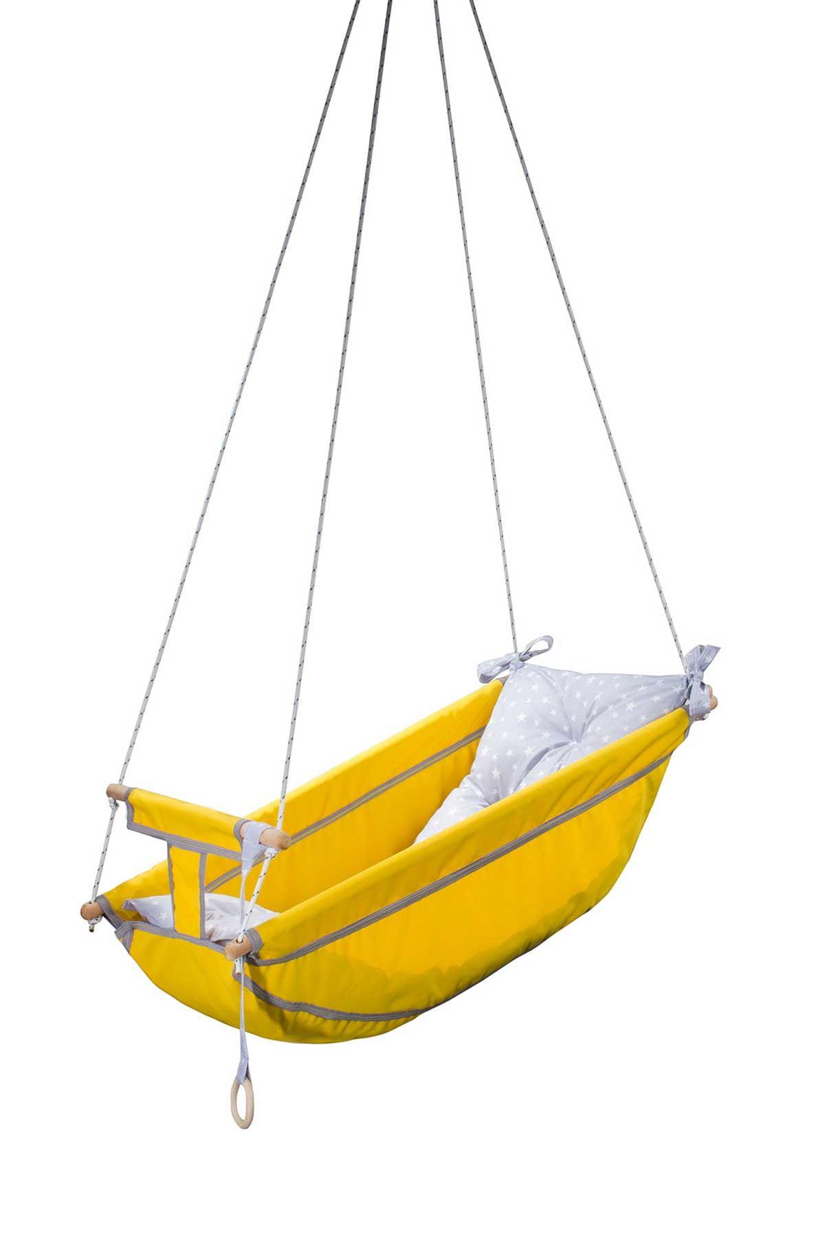 Yellow Bundera Kids Baby Sleeping Swing Wooden Hammock Cradle Swing