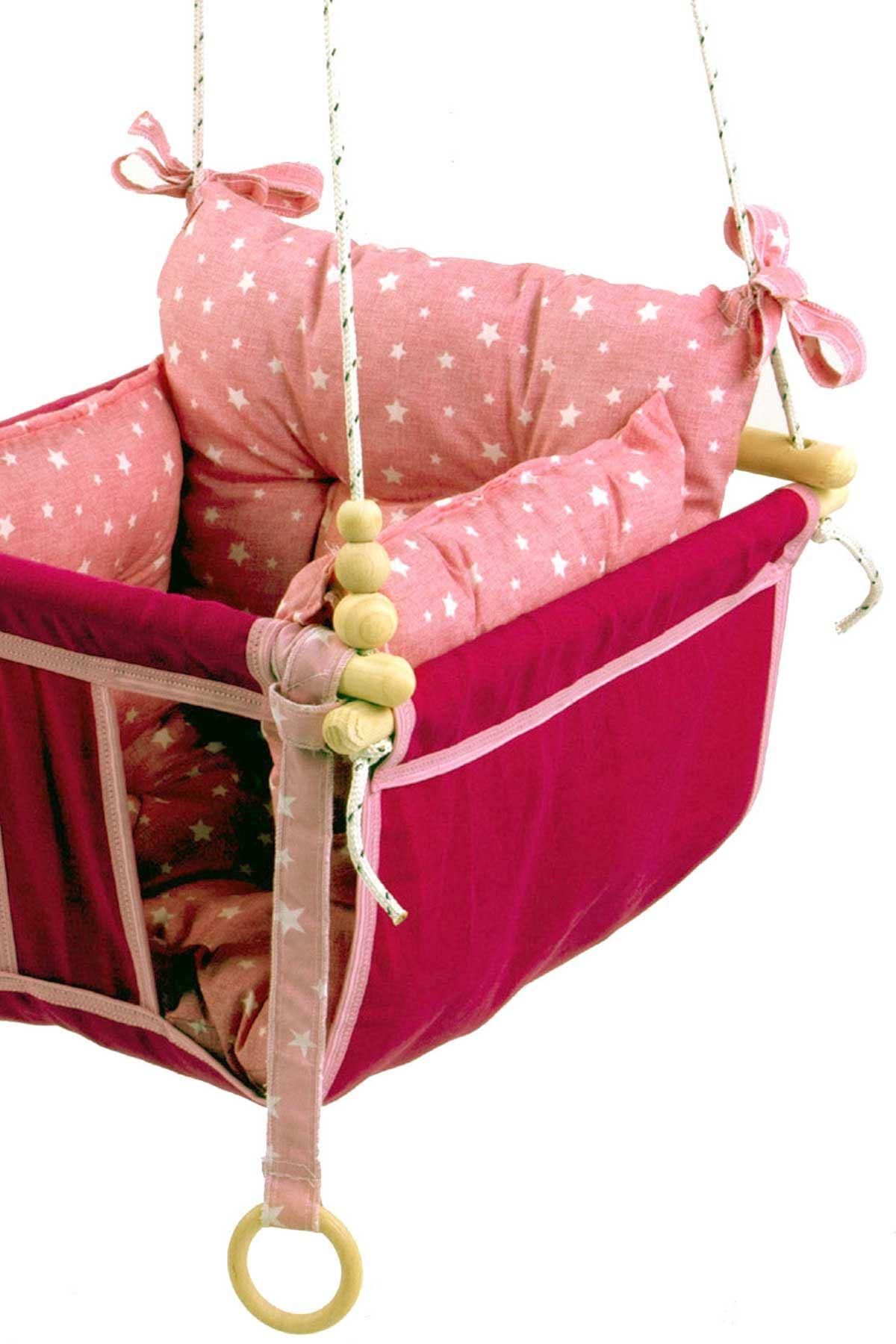 Pembe Wag Swing Çocuk Ahşap Salıncak Bebek Hamak Bahçe Salıcağı