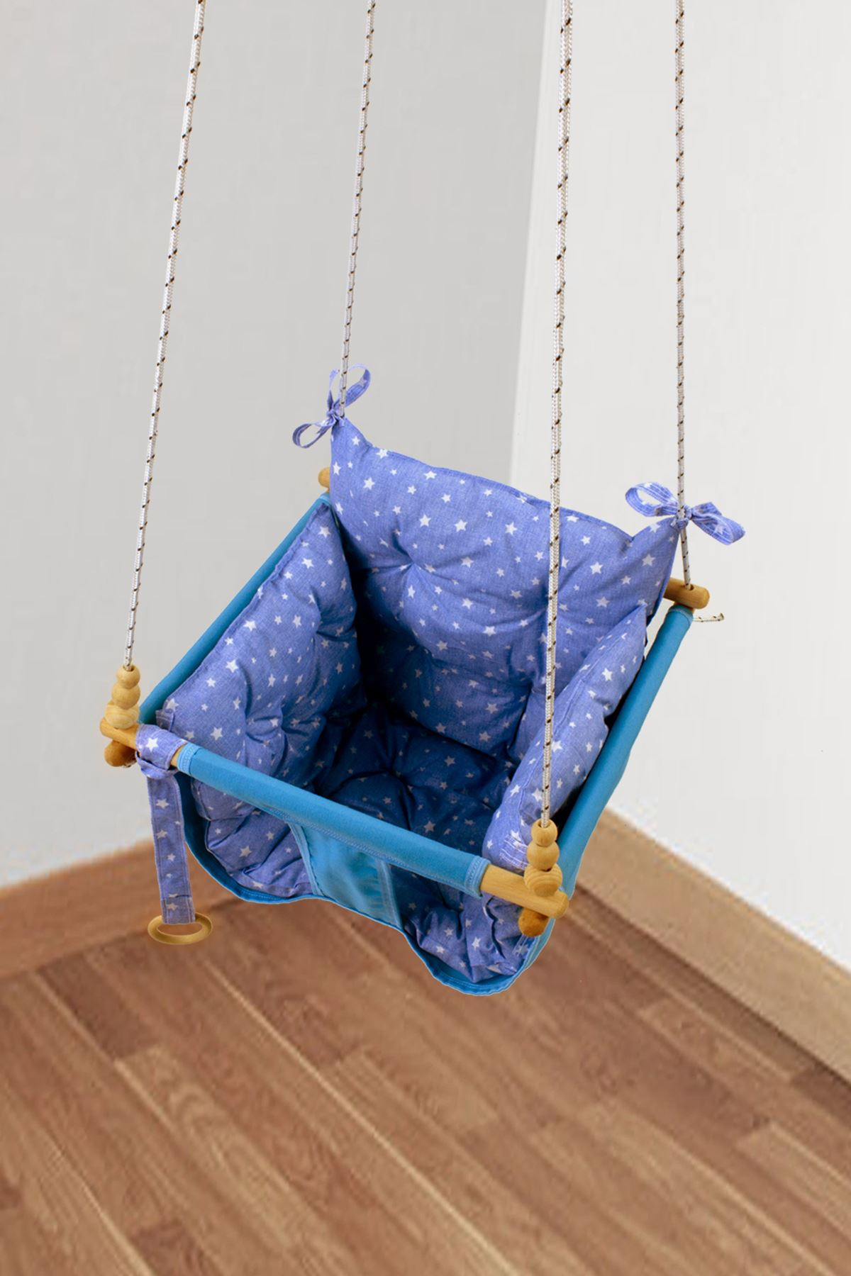 Mavi Wag Swing Çocuk Ahşap Salıncak Bebek Hamak Bahçe Salıcağı