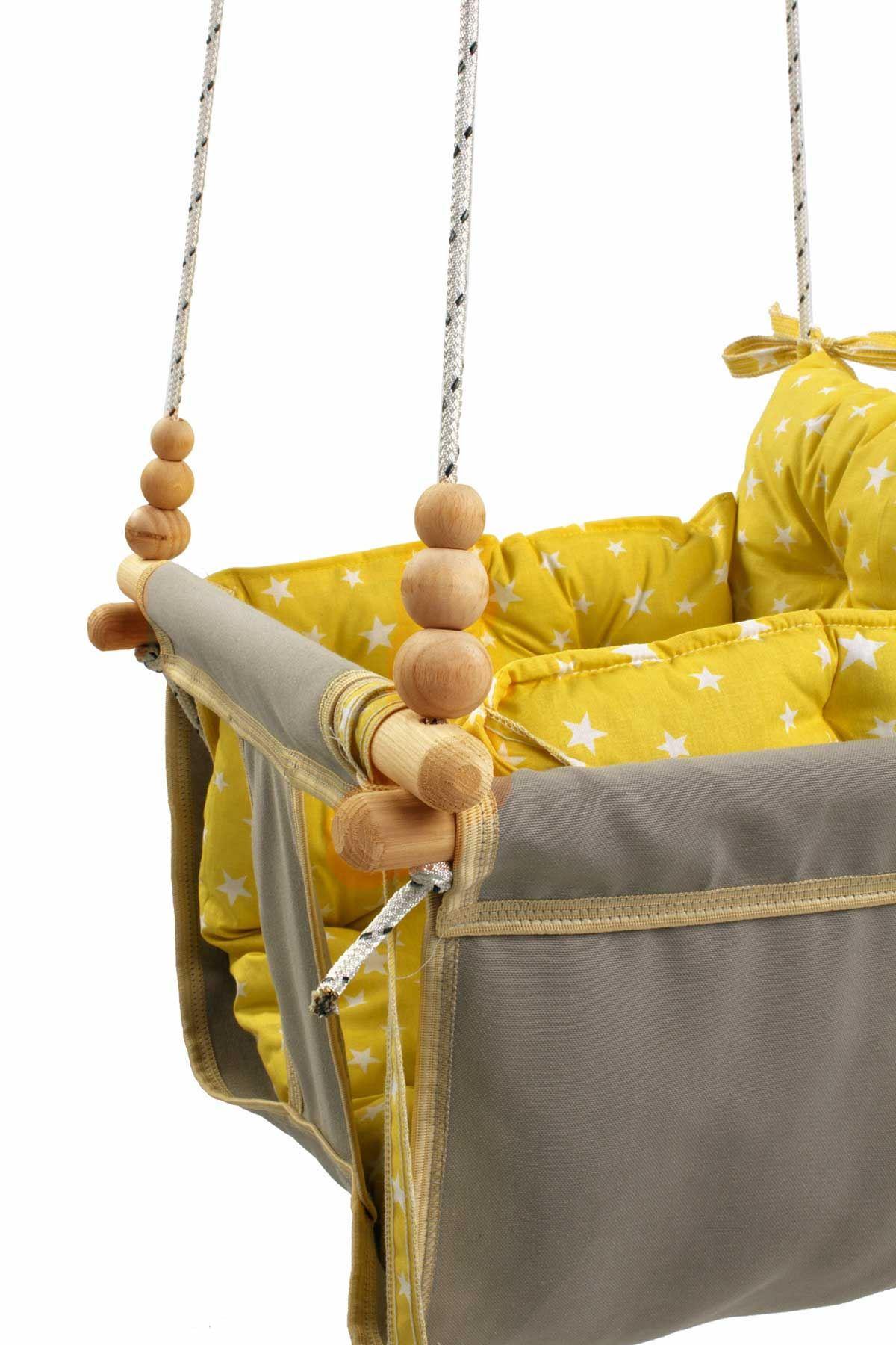 Gri Wag Swing Çocuk Ahşap Salıncak Bebek Hamak Bahçe Salıcağı