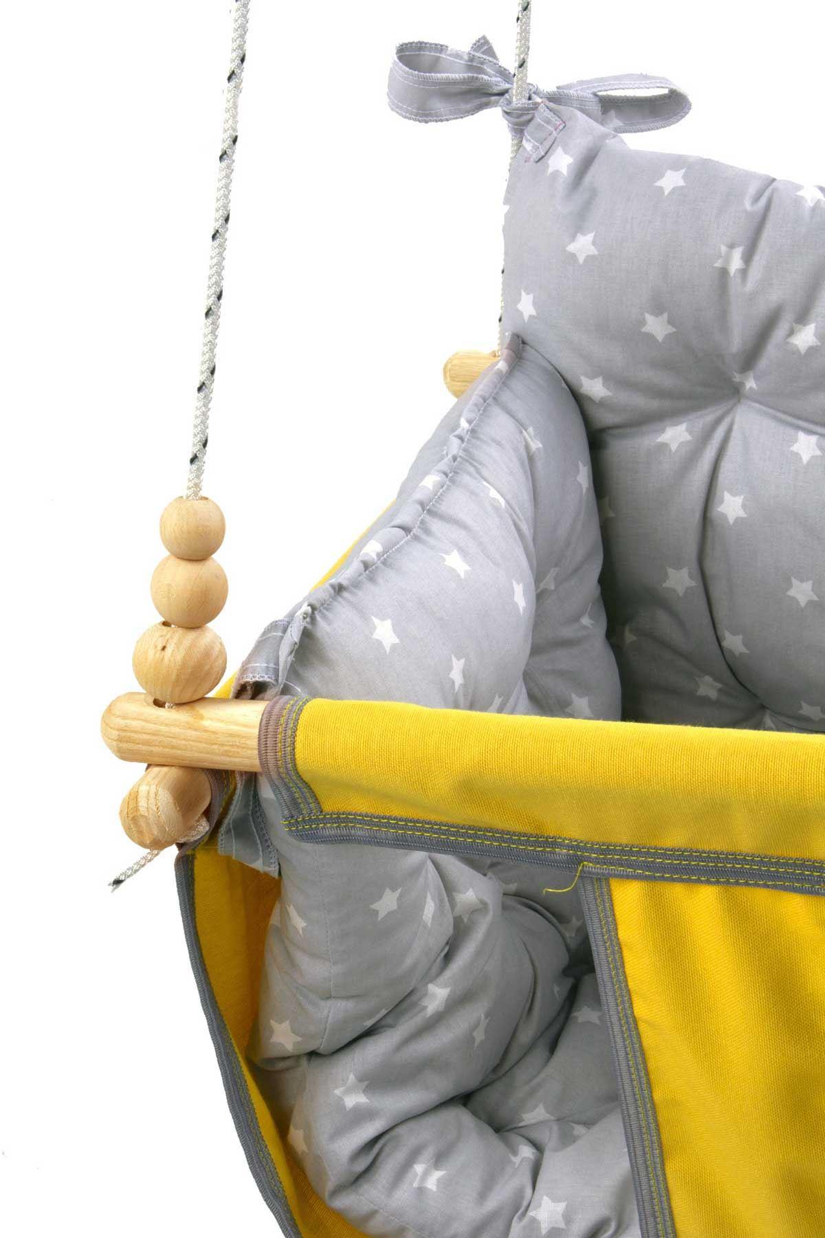 Sarı Wag Swing Çocuk Ahşap Salıncak Bebek Hamak Bahçe Salıcağı