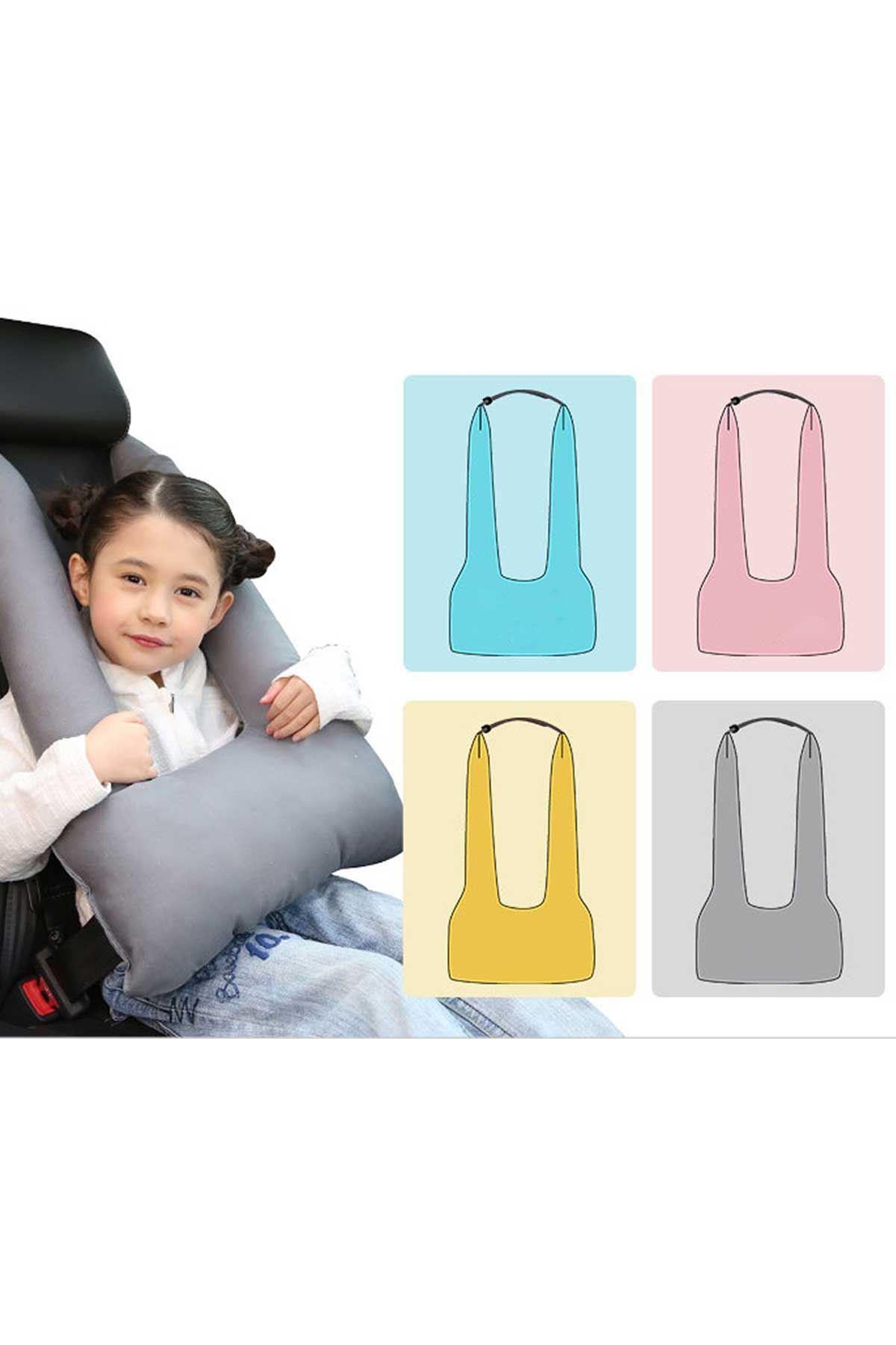 Sarı Bundera Pillow Çocuk Emniyet Kemer Yastığı Düzenleyici Oto Emniyet Kemeri Tutucu