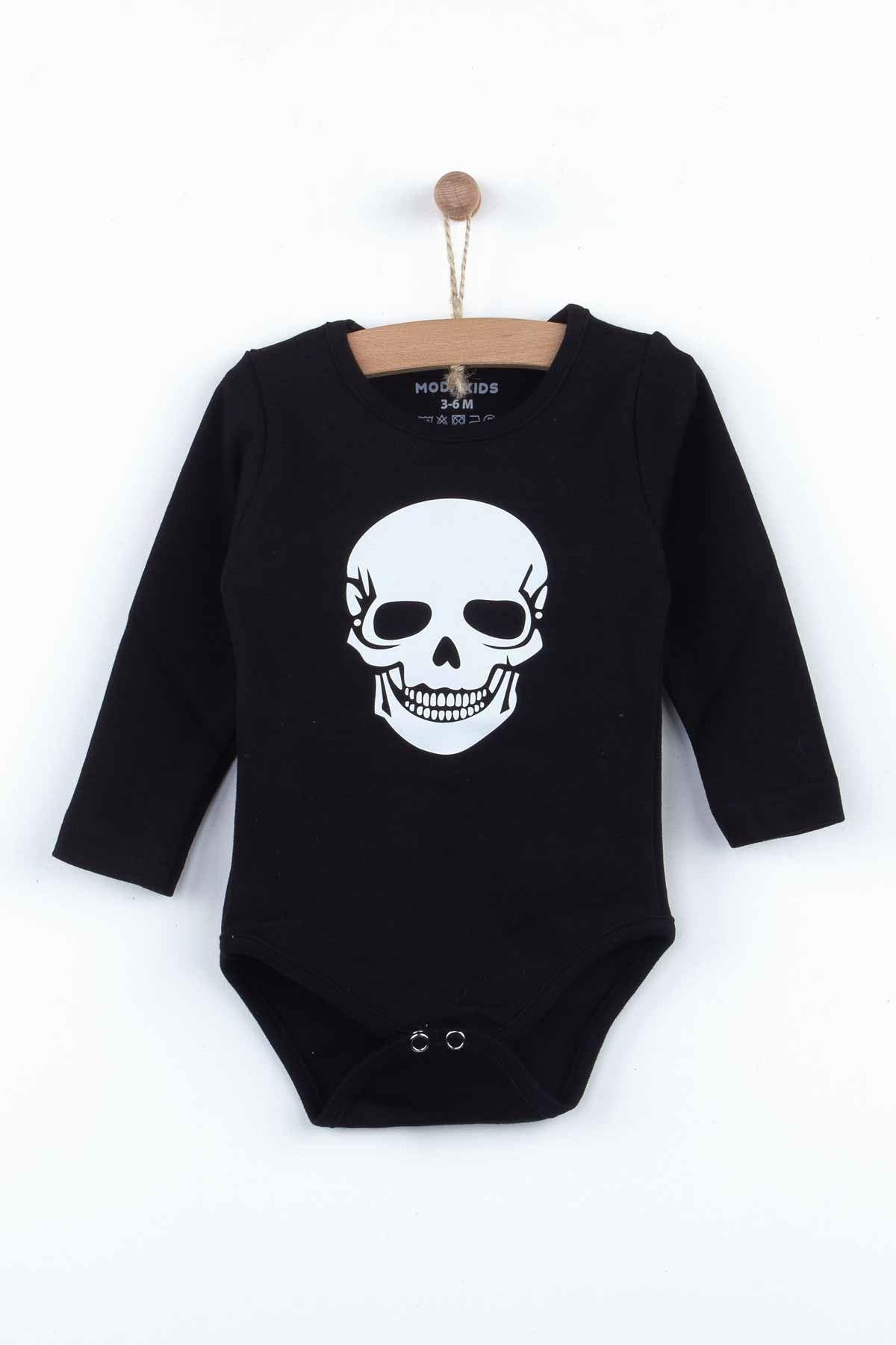 Siyah Kuru Kafa Uzun Kol Erkek Bebek 4 lü Takım