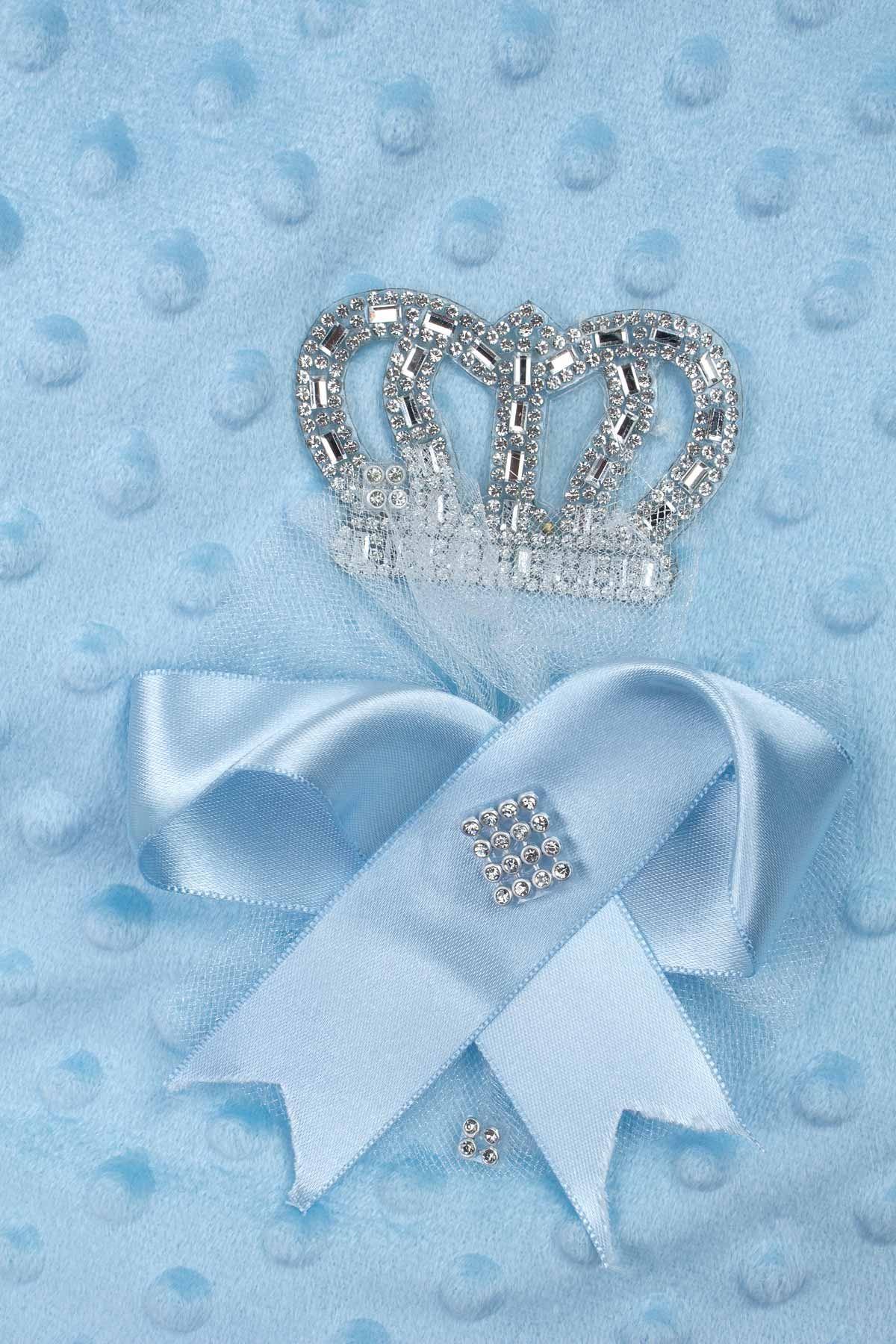 Mavi Prens Taçlı Erkek Bebek Nohut Kundak