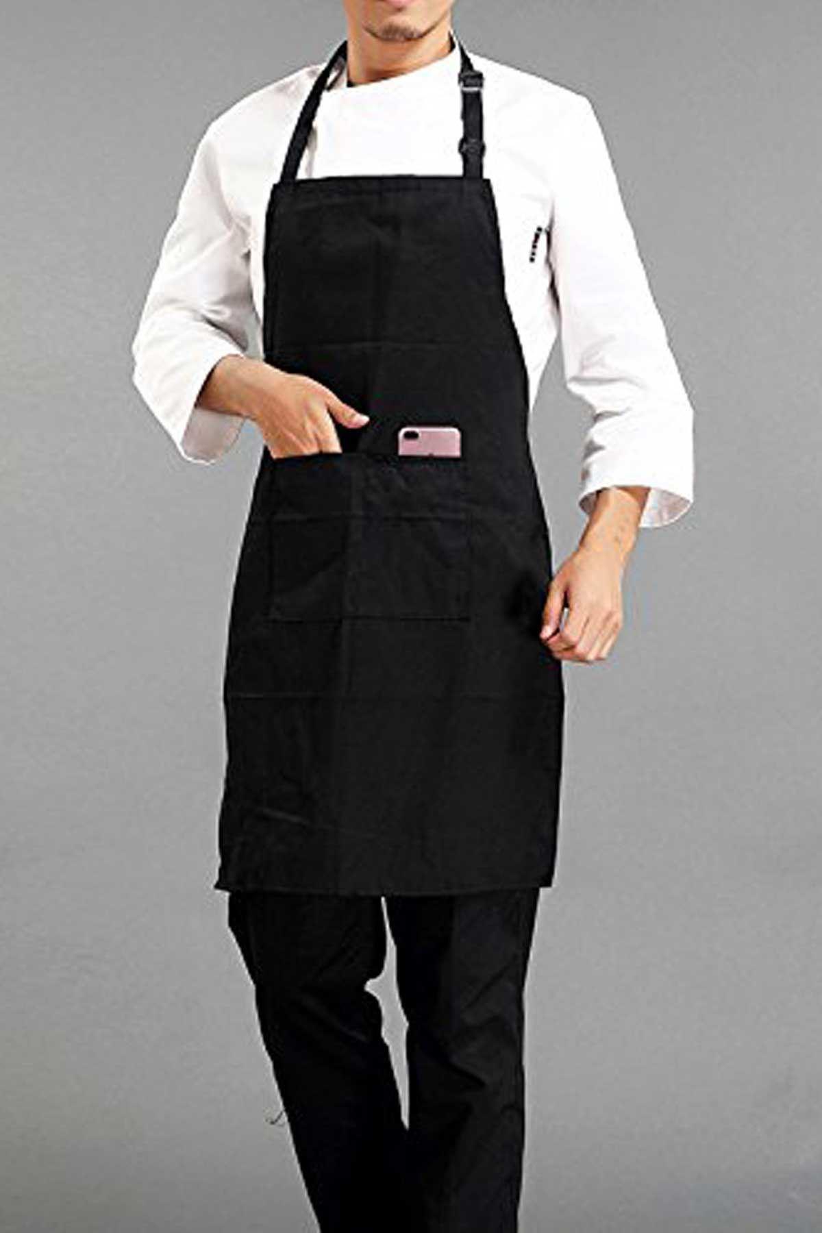 Siyah Askılı Önlük Mutfak Aşçı Şef Önlüğü