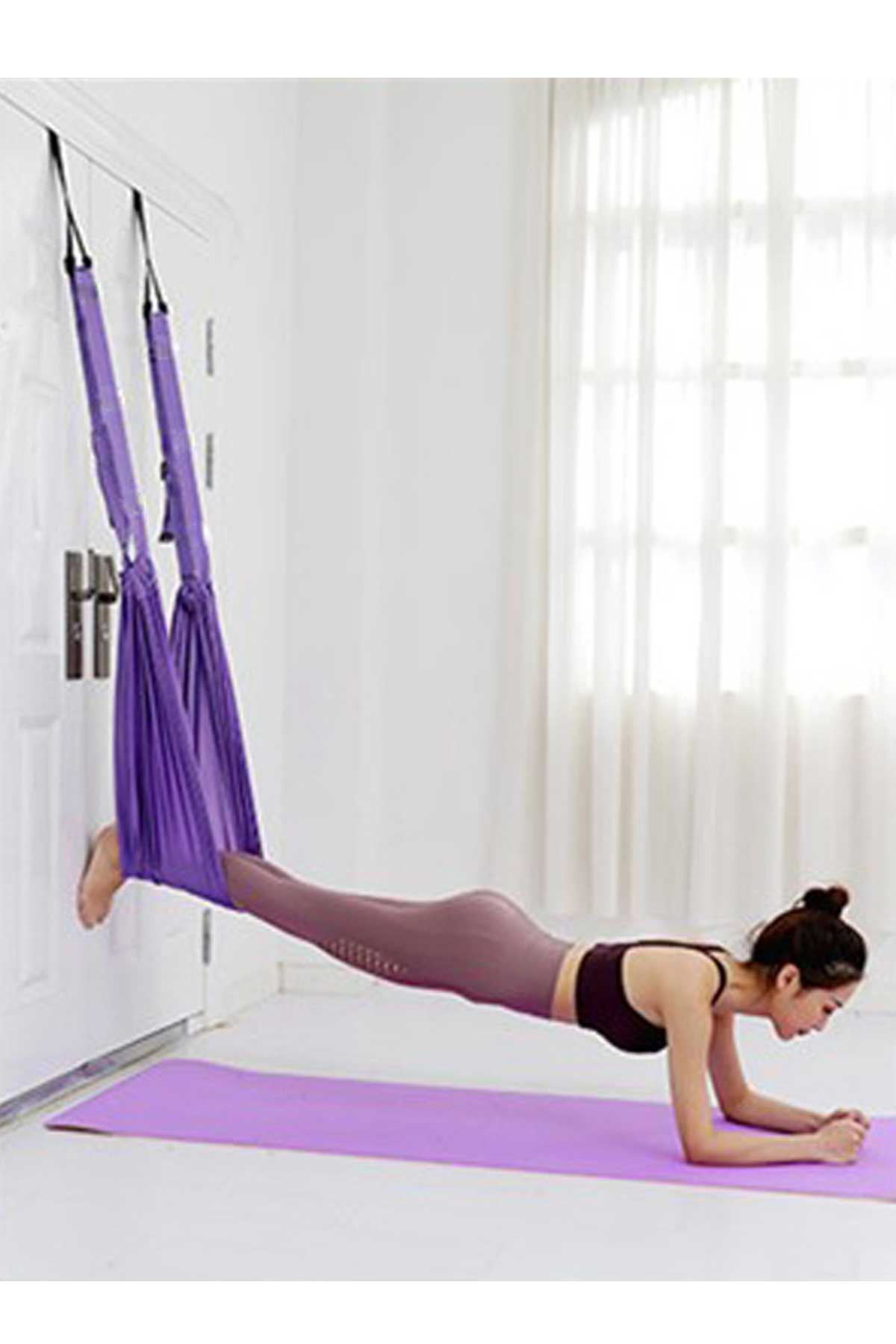 Mor Bundera Yoga Plus Pilates Fitness Hamağı Askılı Yoga Denge Spor Aleti
