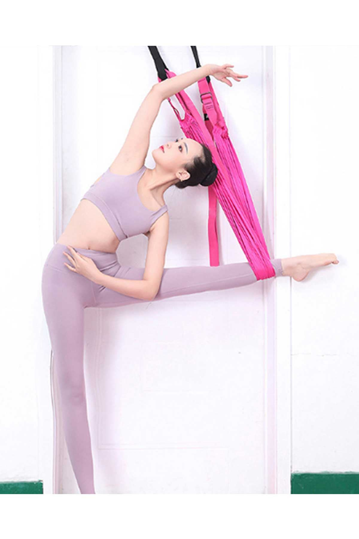 Pembe Bundera Yoga Plus Pilates Fitness Hamağı Askılı Yoga Denge Spor Aleti