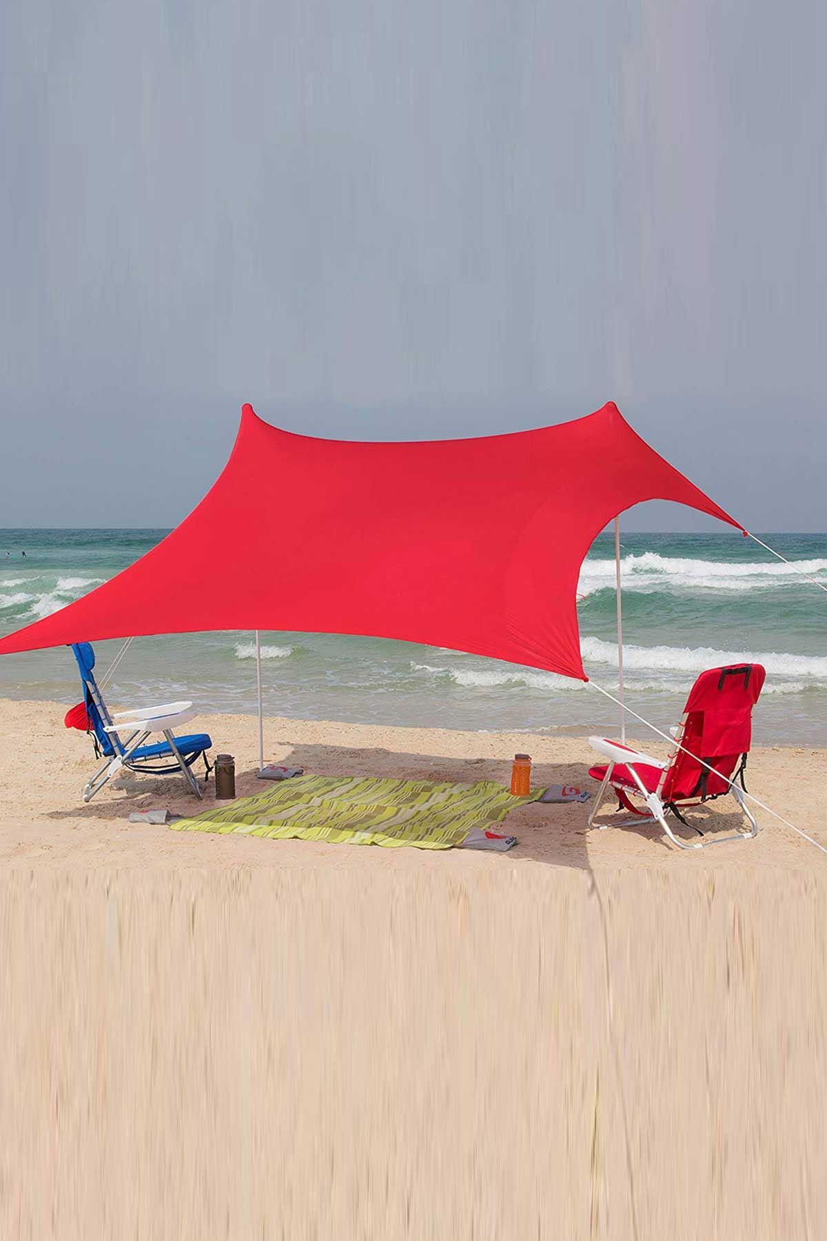 Kırmızı Bundera Zelt 2,30 Metre Gölgelik Güneşlik Tente Plaj Şemsiyesi