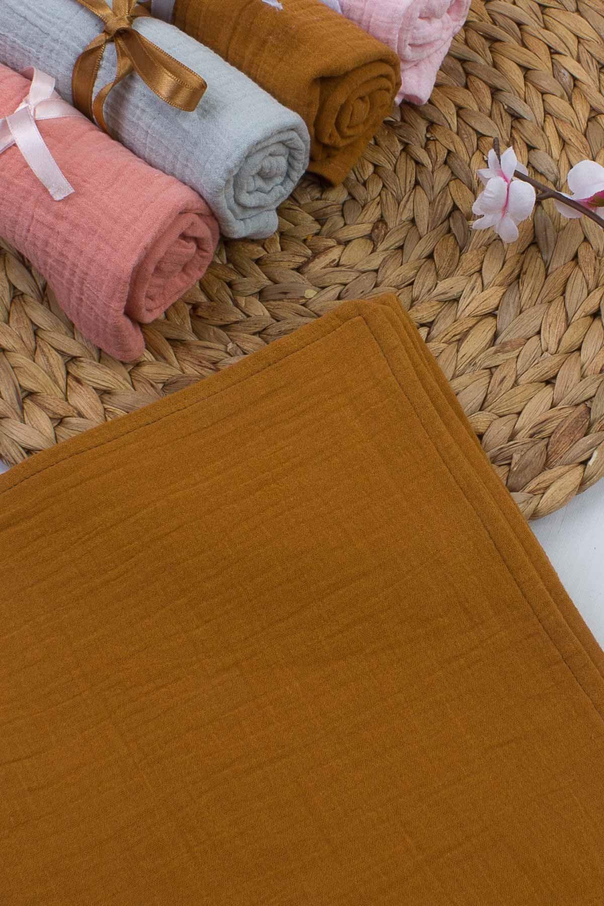 Hardal Çift Kat Müslin Bürümcük 50x70 cm Bebek Omuz Bezi Battaniye