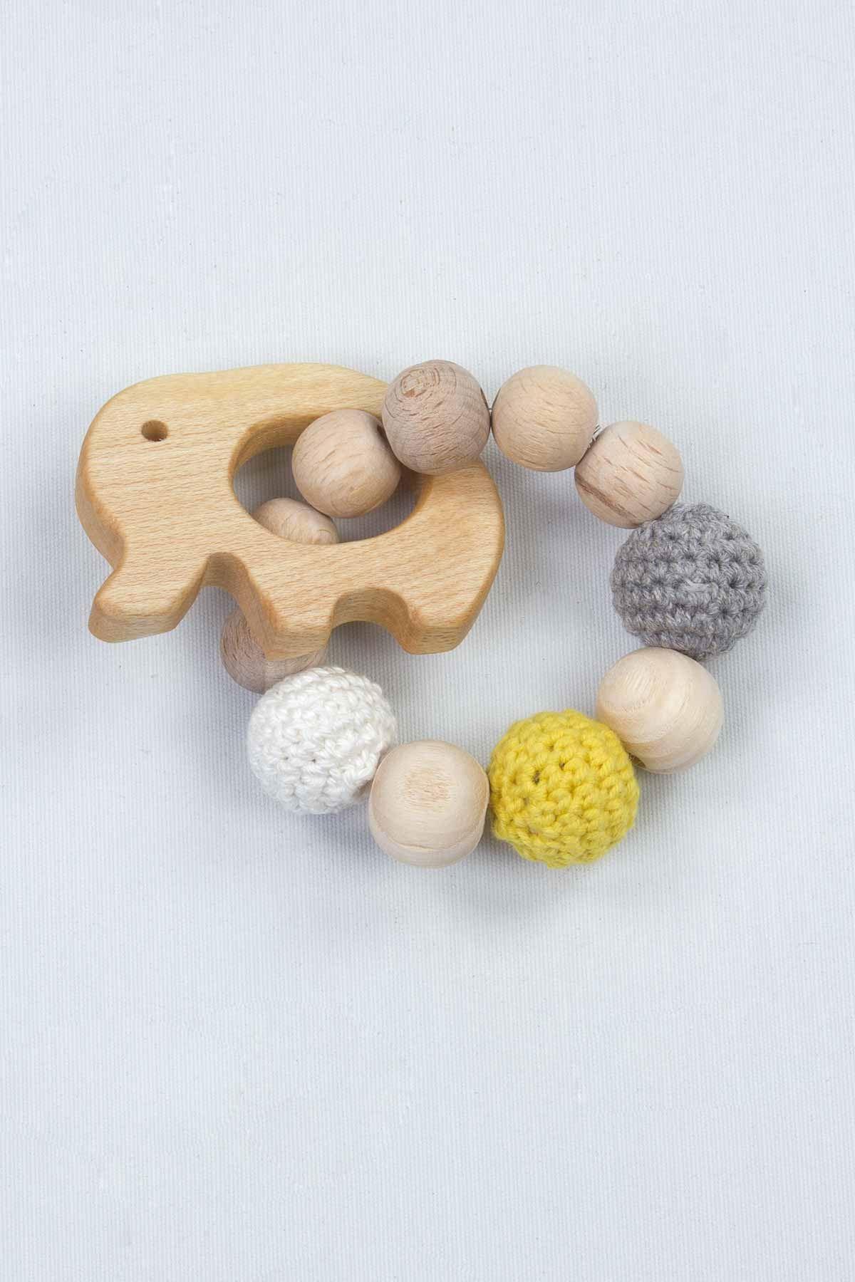 Doğal Ahşap El Örgüsü Amigurumi Bebek Diş Kaşıyıcı Oyun Halkası