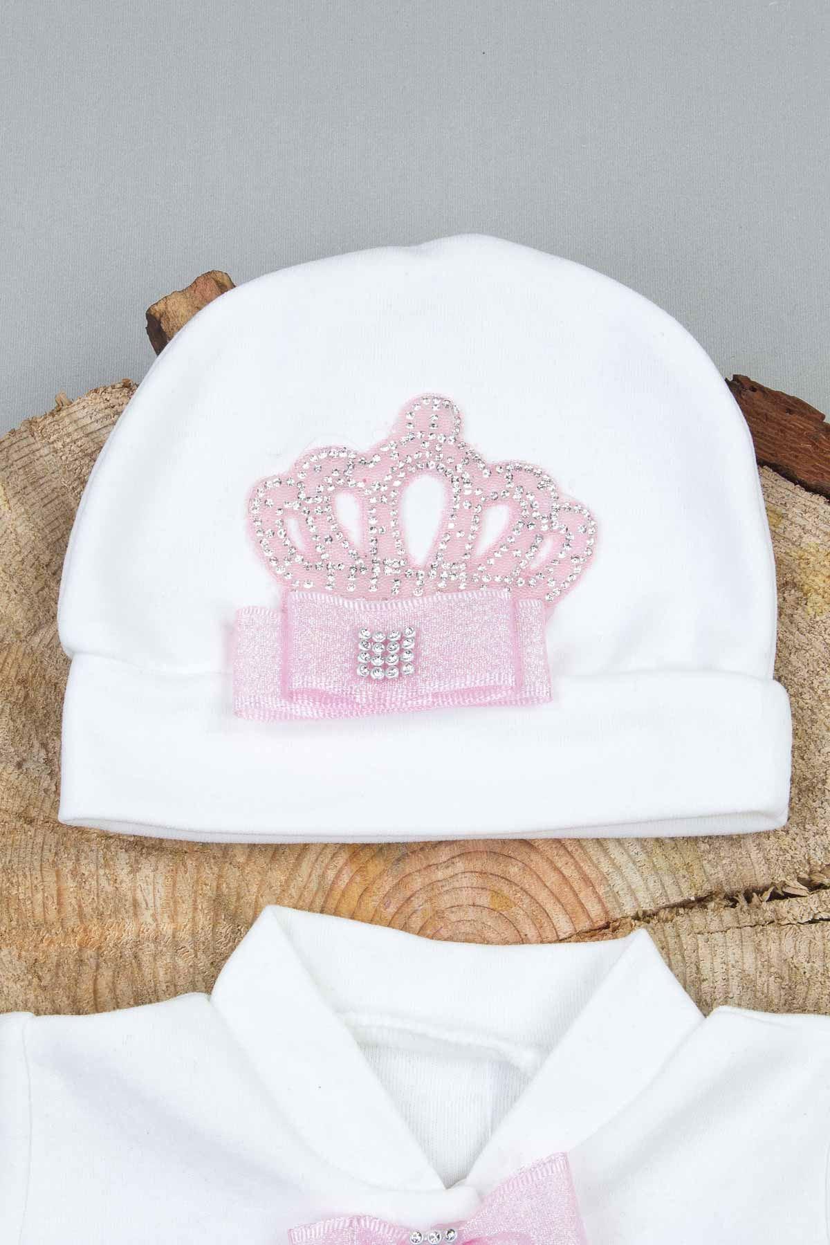 Beyaz Kraliçe Taçlı 5 li Bebek Tulum Seti