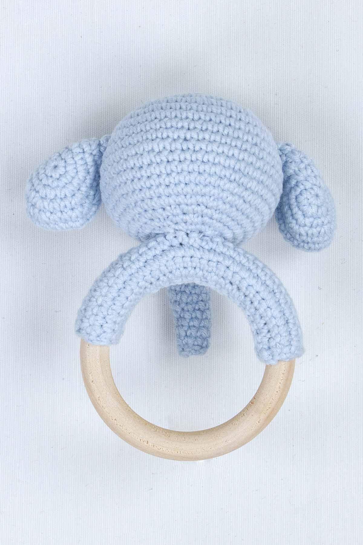 Mavi Organik El Yapımı Amigurumi Fil Çıngırak Oyuncak