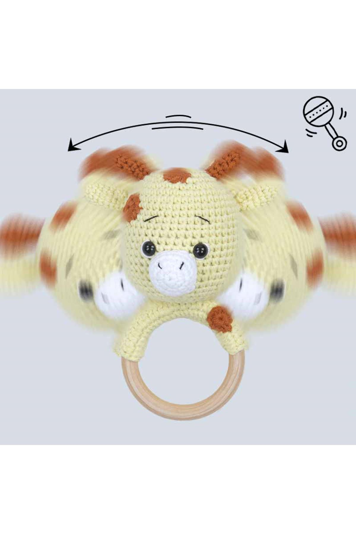 Sarı Organik El Yapımı Amigurumi Zürafa Çıngırak Oyuncak