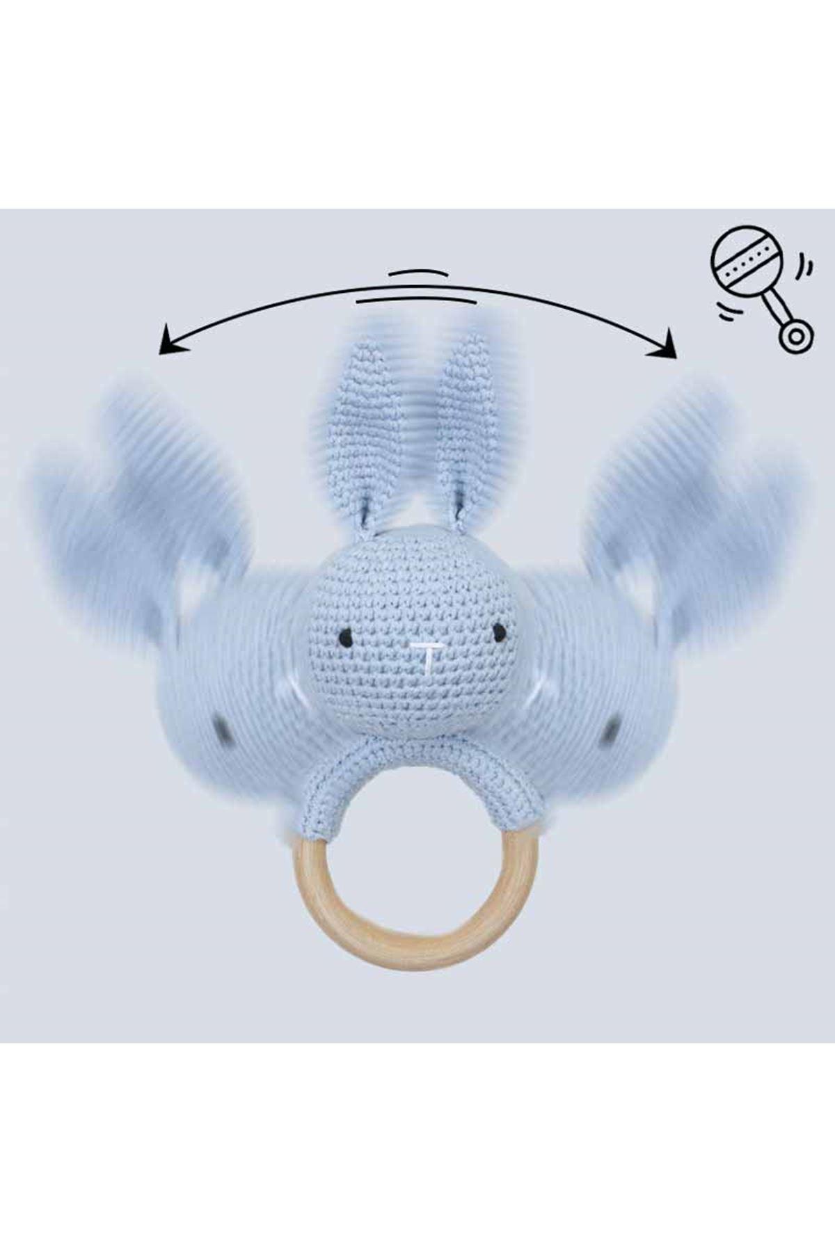 Mavi Organik El Yapımı Amigurumi Tavşan Çıngırak Oyuncak