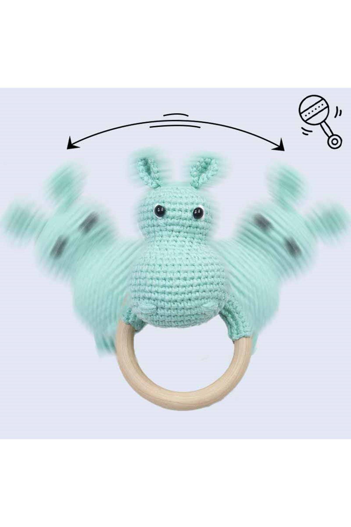 Yeşil Organik El Yapımı Amigurumi Hippo Çıngırak Oyuncak