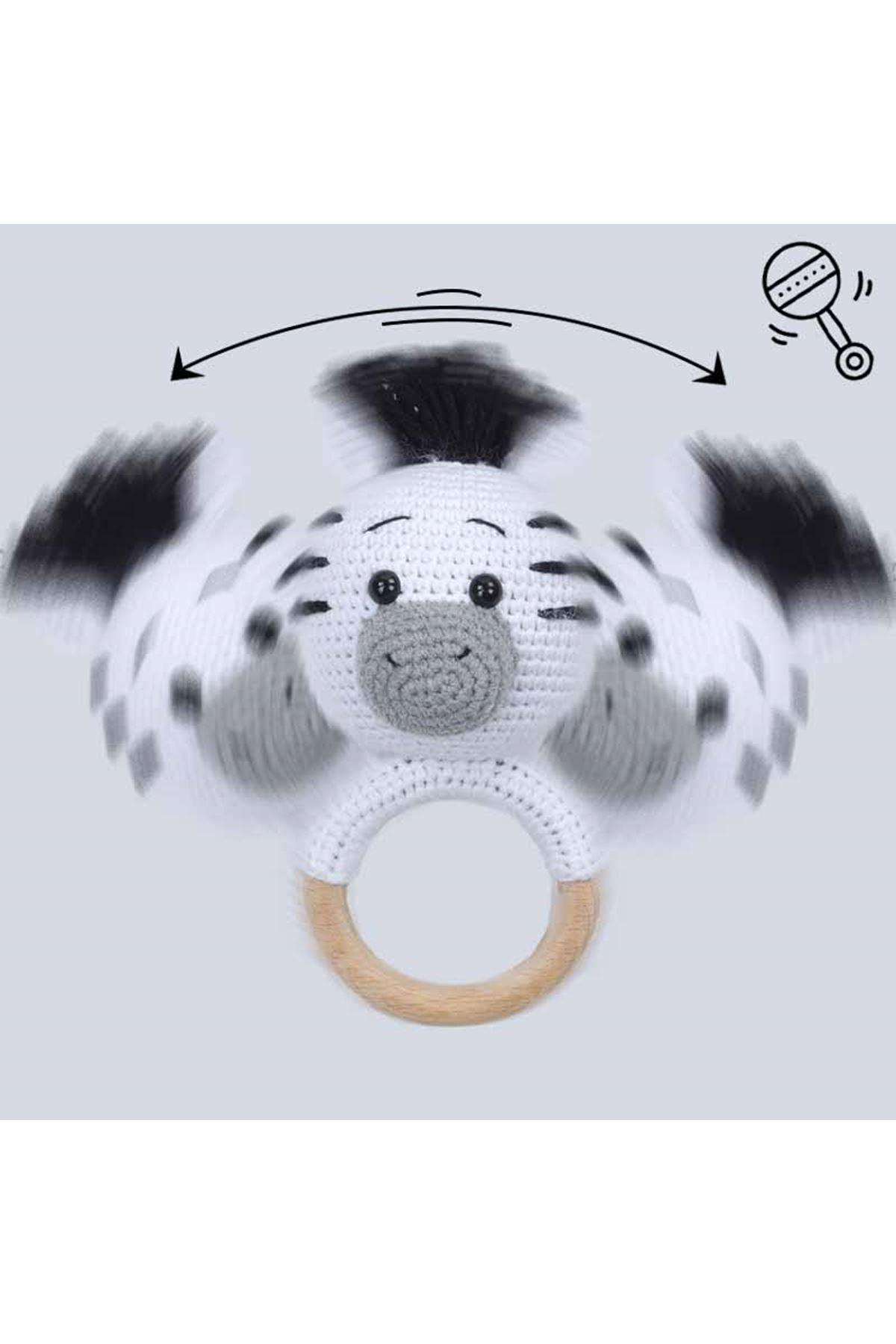 Beyaz Organik El Yapımı Amigurumi Zebra Çıngırak Oyuncak