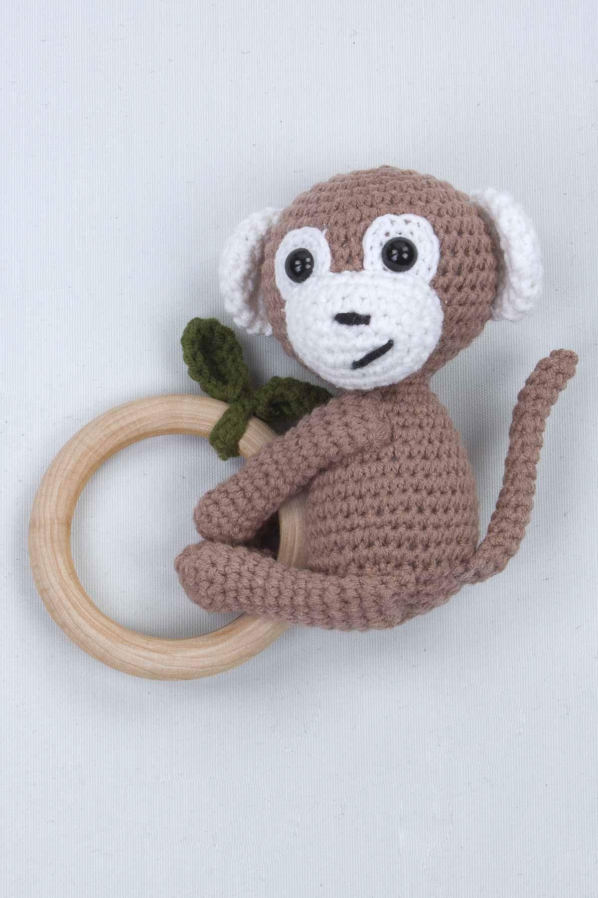 Kahverengi Organik El Yapımı Amigurumi Maymun Çıngırak Oyuncak