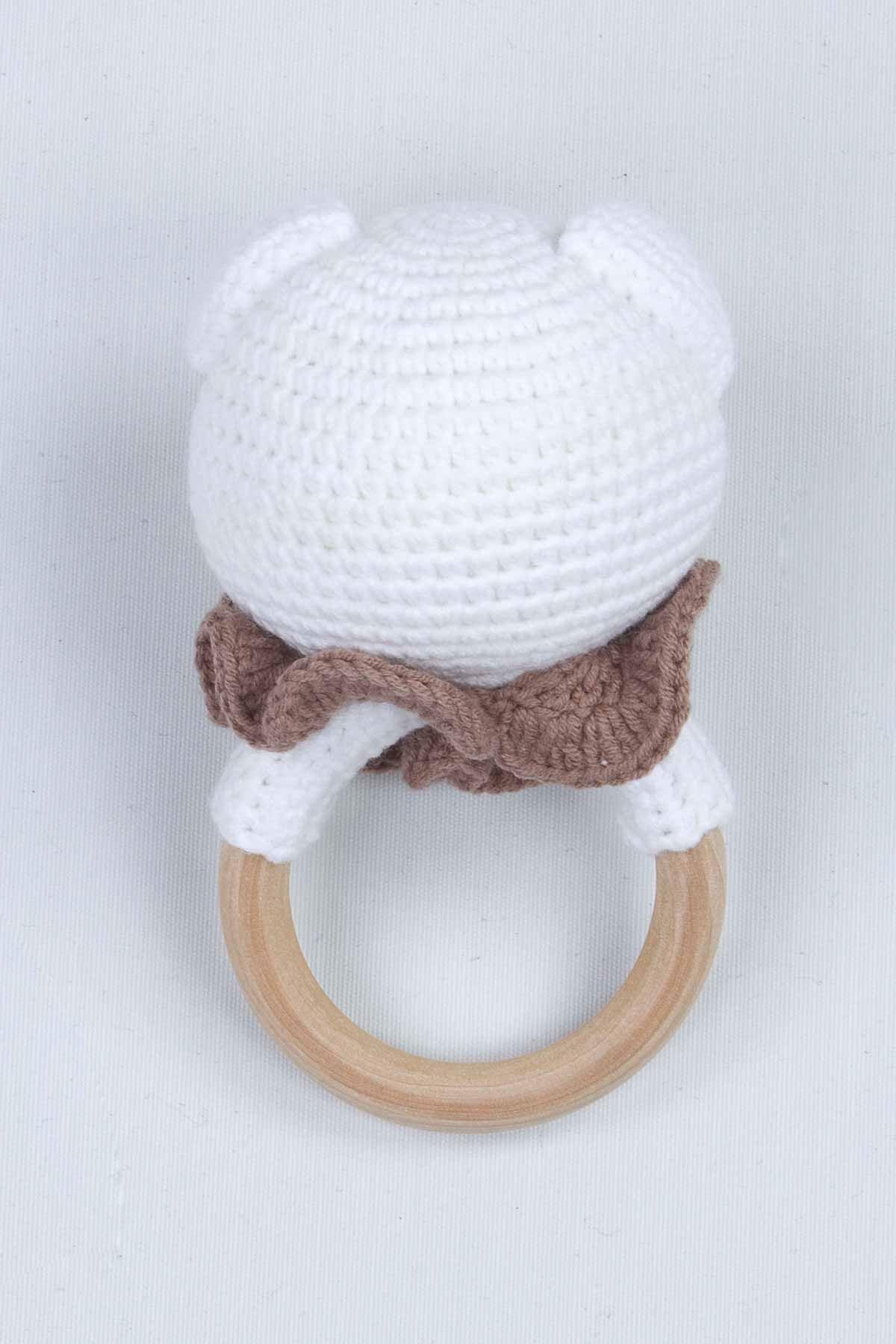 Beyaz Organik El Yapımı Amigurumi Ayıcık Çıngırak Oyuncak