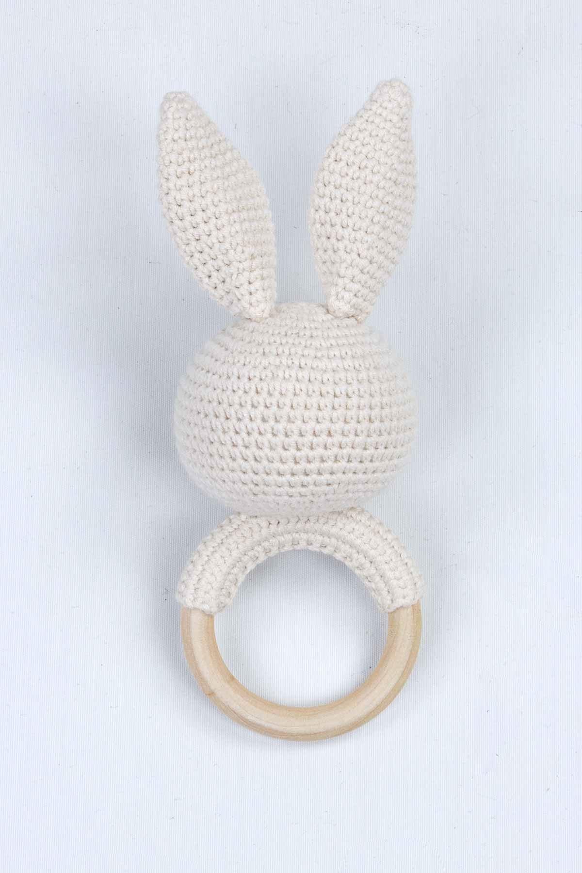 Krem Organik El Yapımı Amigurumi Tavşan Çıngırak Oyuncak