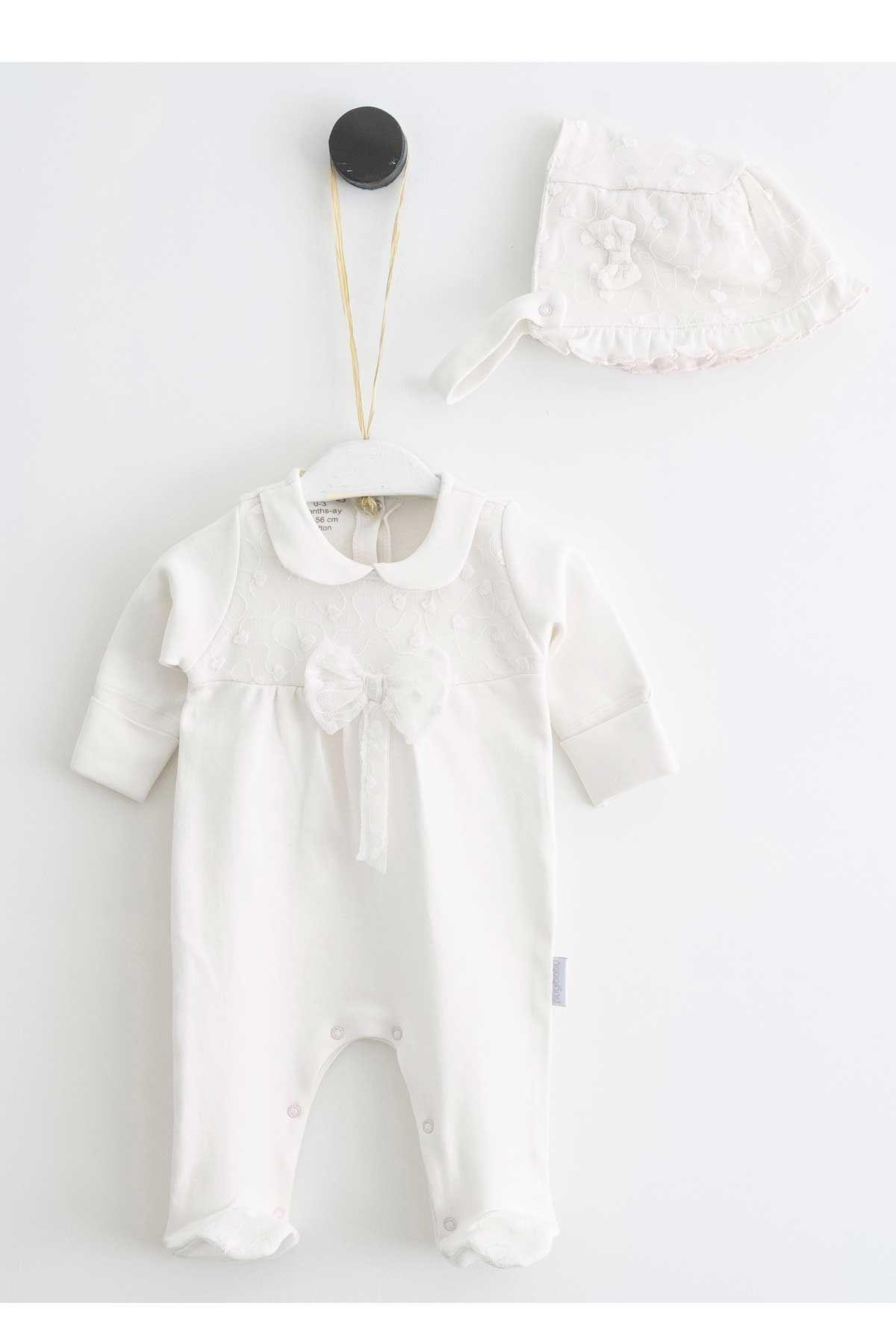 Krem Dantel Kız Bebek Şapkalı Tulum