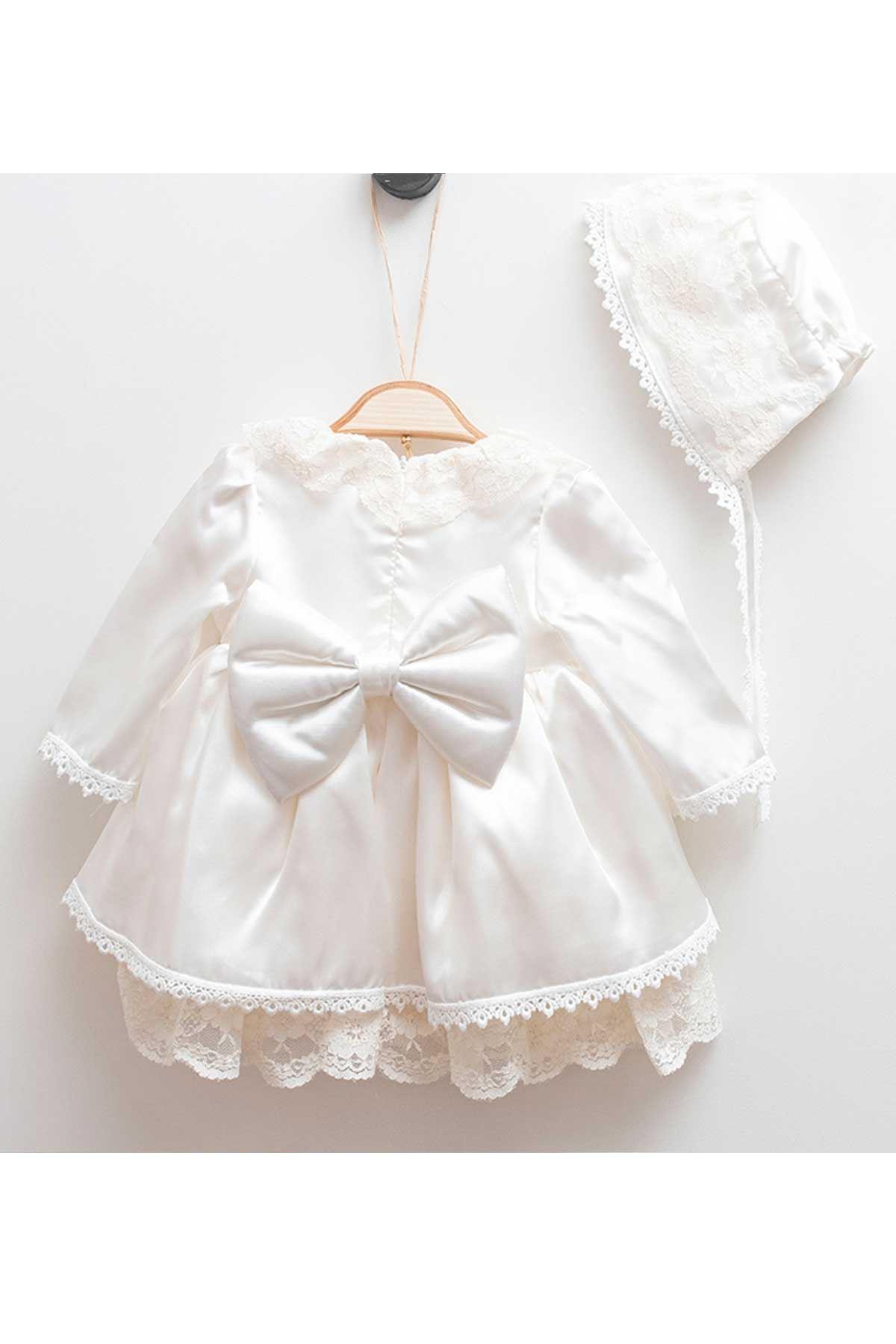 Krem Pelerin Dantel Kız Bebek Elbise Set