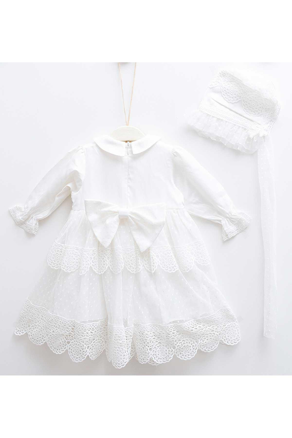 Krem Dantel Kız Bebek Elbise Set