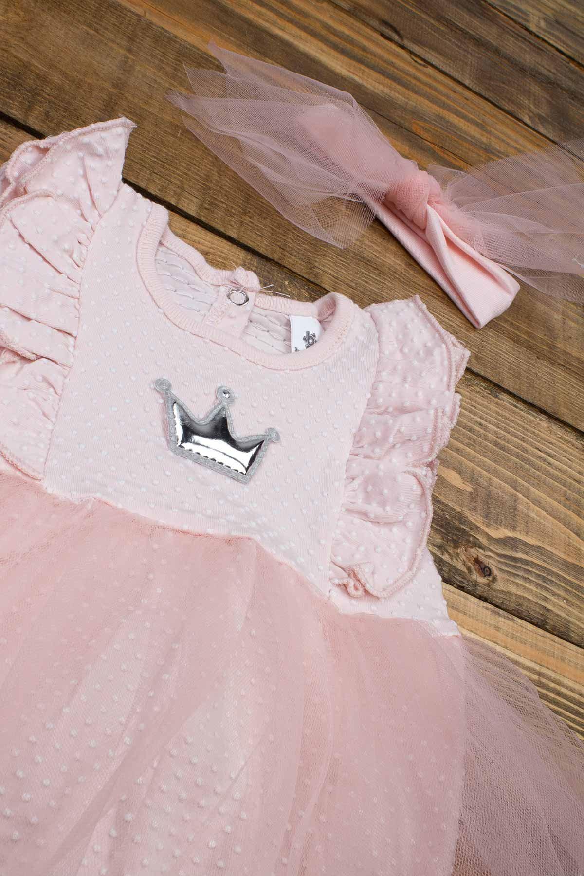 Pudra Yazlık Kız Bebek Tüllü Bandanalı Elbise